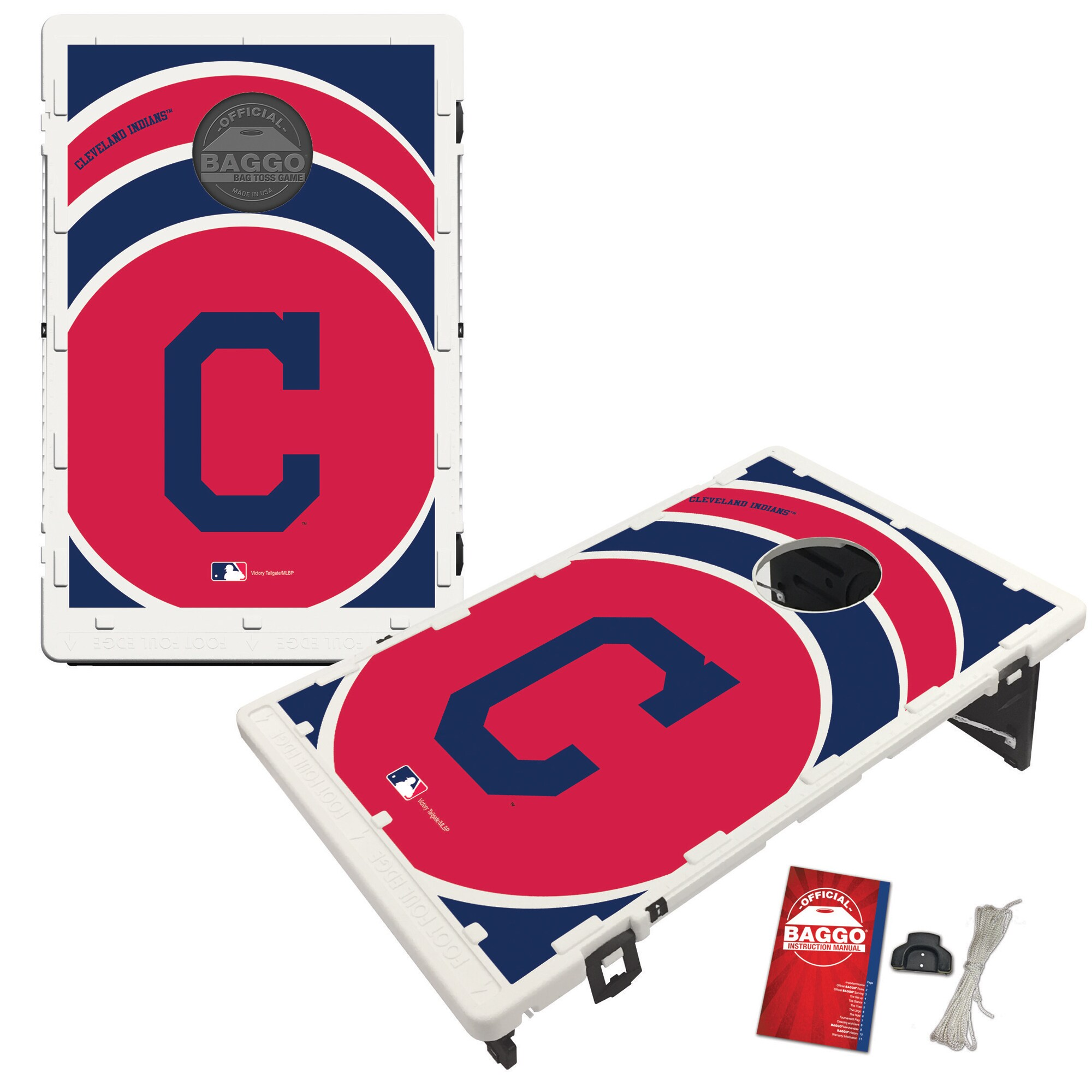 Cleveland Indians 2' x 3' BAGGO Vortex Cornhole Board Tailgate Toss Set