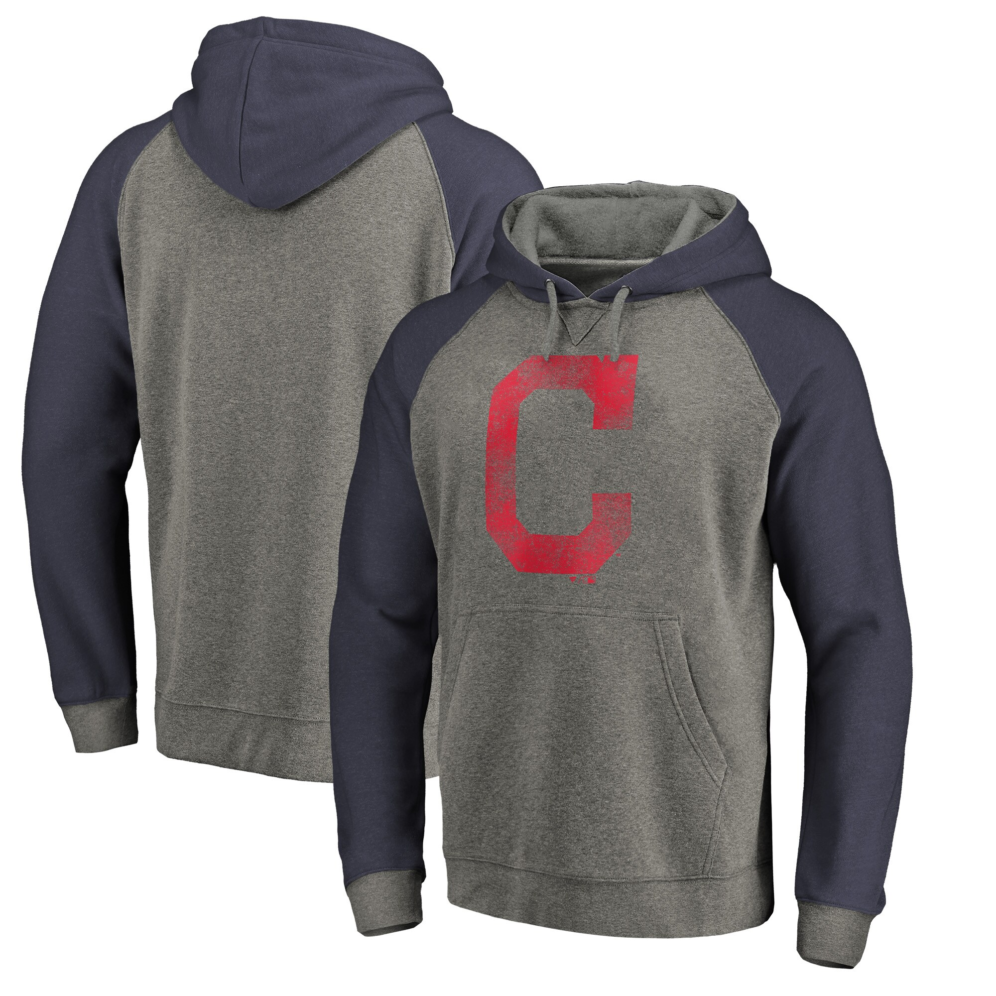 Cleveland Indians Fanatics Branded Distressed Team Logo Tri-Blend Raglan Pullover Hoodie - Gray/Navy