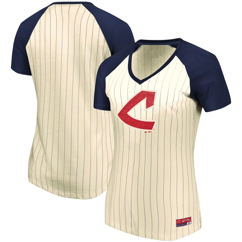 Cleveland Indians Majestic Women's Concept of Winning Pinstripe V-Neck Raglan T-Shirt - Natural