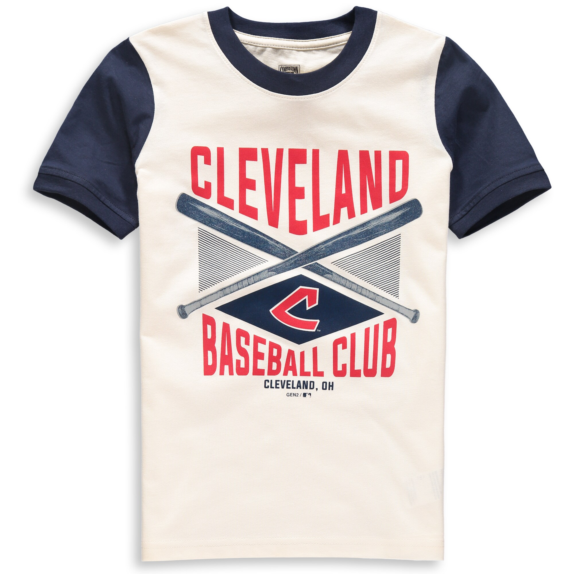 Cleveland Indians Youth Timeless Pastime Ringer T-Shirt - Cream/Navy