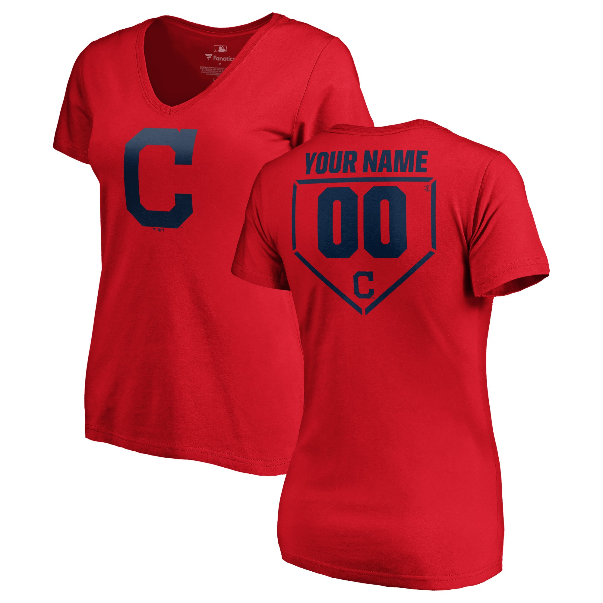 Cleveland Indians Fanatics Branded Women's Personalized RBI Slim Fit V-Neck T-Shirt - Red