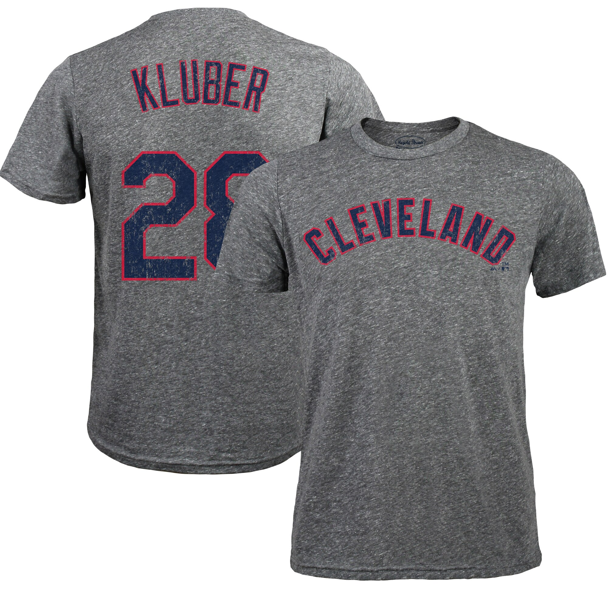 Corey Kluber Cleveland Indians Majestic Threads Premium Tri-Blend Name & Number T-Shirt - Gray