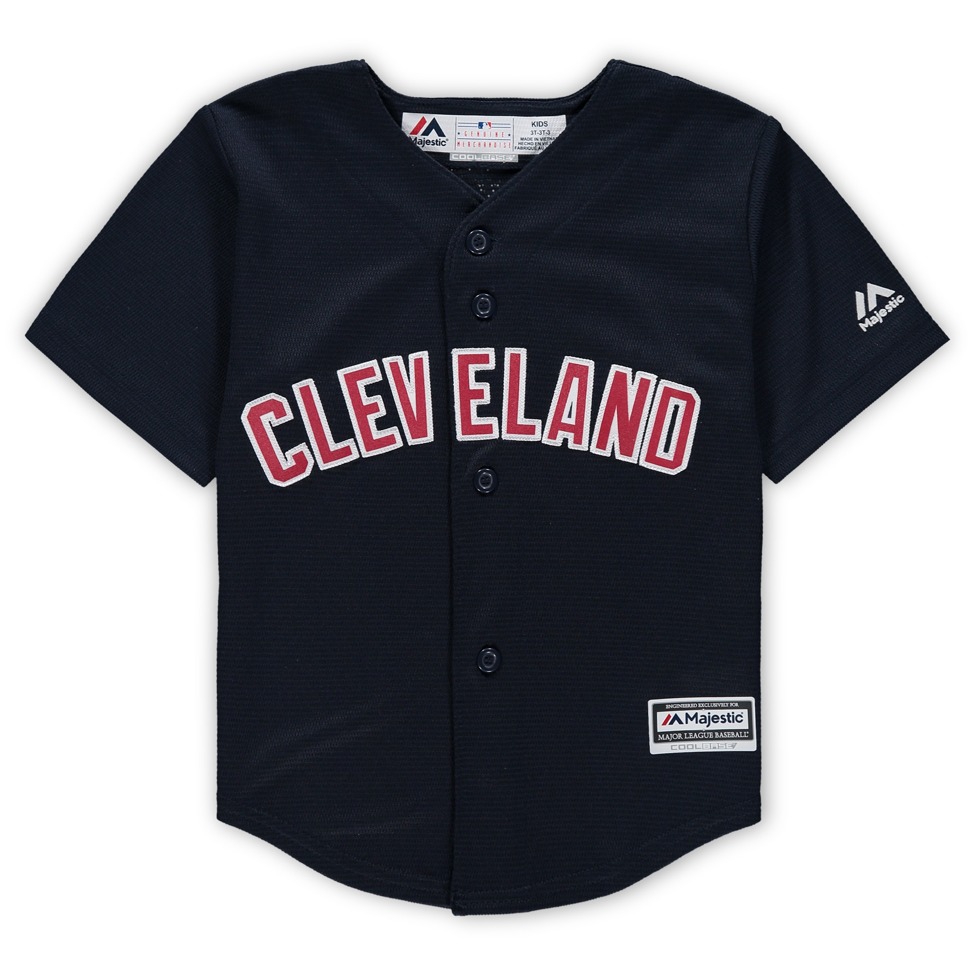 Cleveland Indians Majestic Toddler Official Cool Base Jersey - Navy