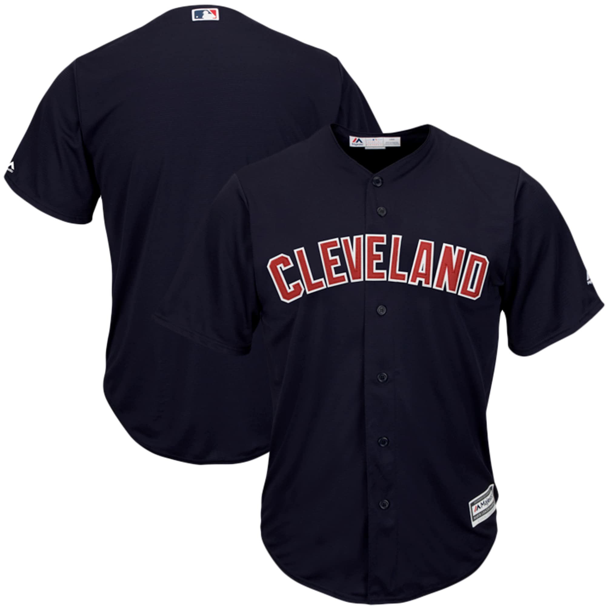 Cleveland Indians Majestic Youth Official Cool Base Jersey - Navy