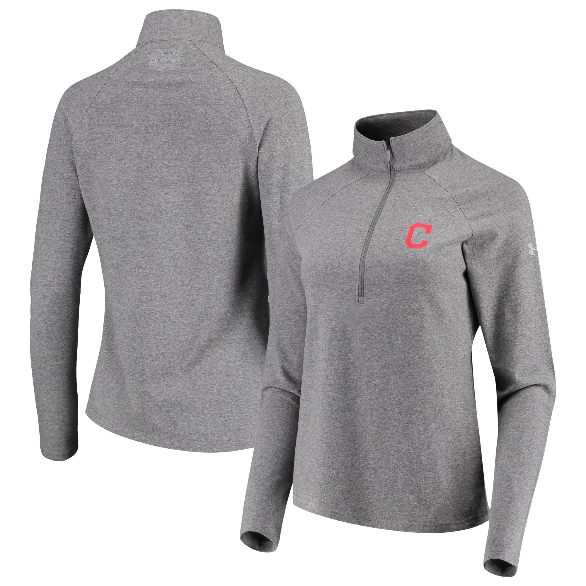 Cleveland Indians Under Armour Women's Passion Performance Tri-Blend Raglan Half-Zip Pullover Jacket - Heathered Gray