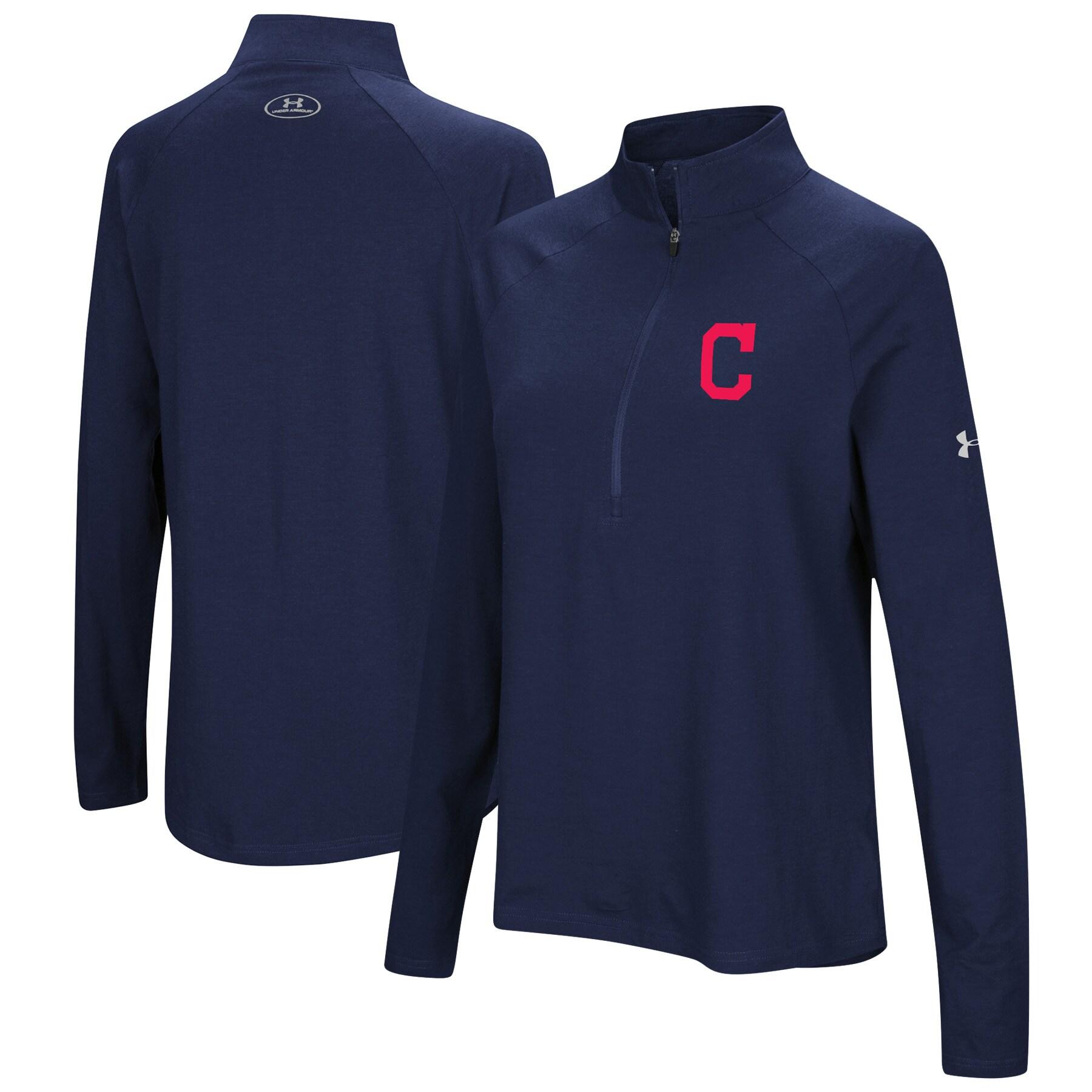 Cleveland Indians Under Armour Women's Passion Performance Tri-Blend Raglan Half-Zip Pullover Jacket - Navy