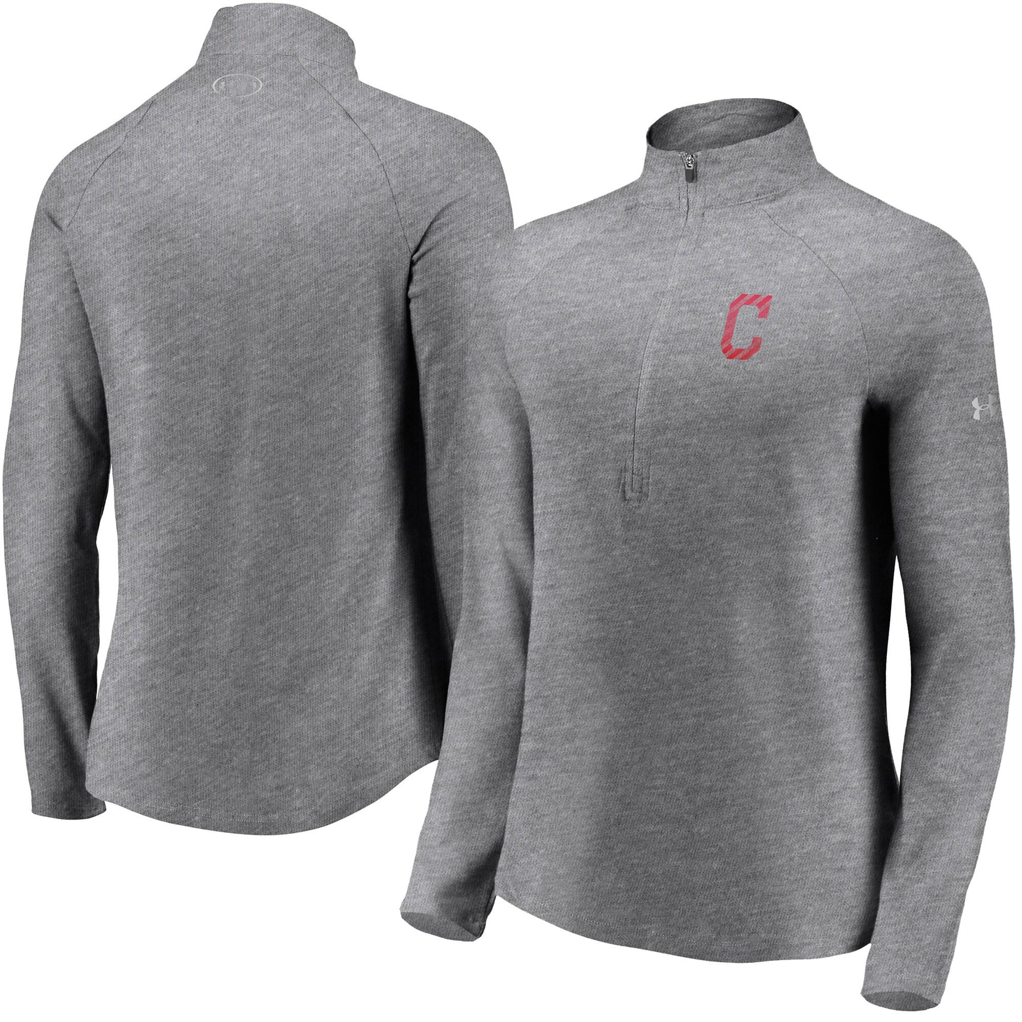 Cleveland Indians Under Armour Women's Passion Alternate Performance Tri-Blend Raglan Half-Zip Pullover Jacket - Heathered Gray