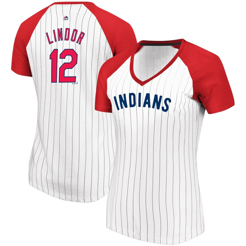 Francisco Lindor Cleveland Indians Majestic Women's Every Aspect Pinstripe Name & Number V-Neck T-Shirt - White/Red