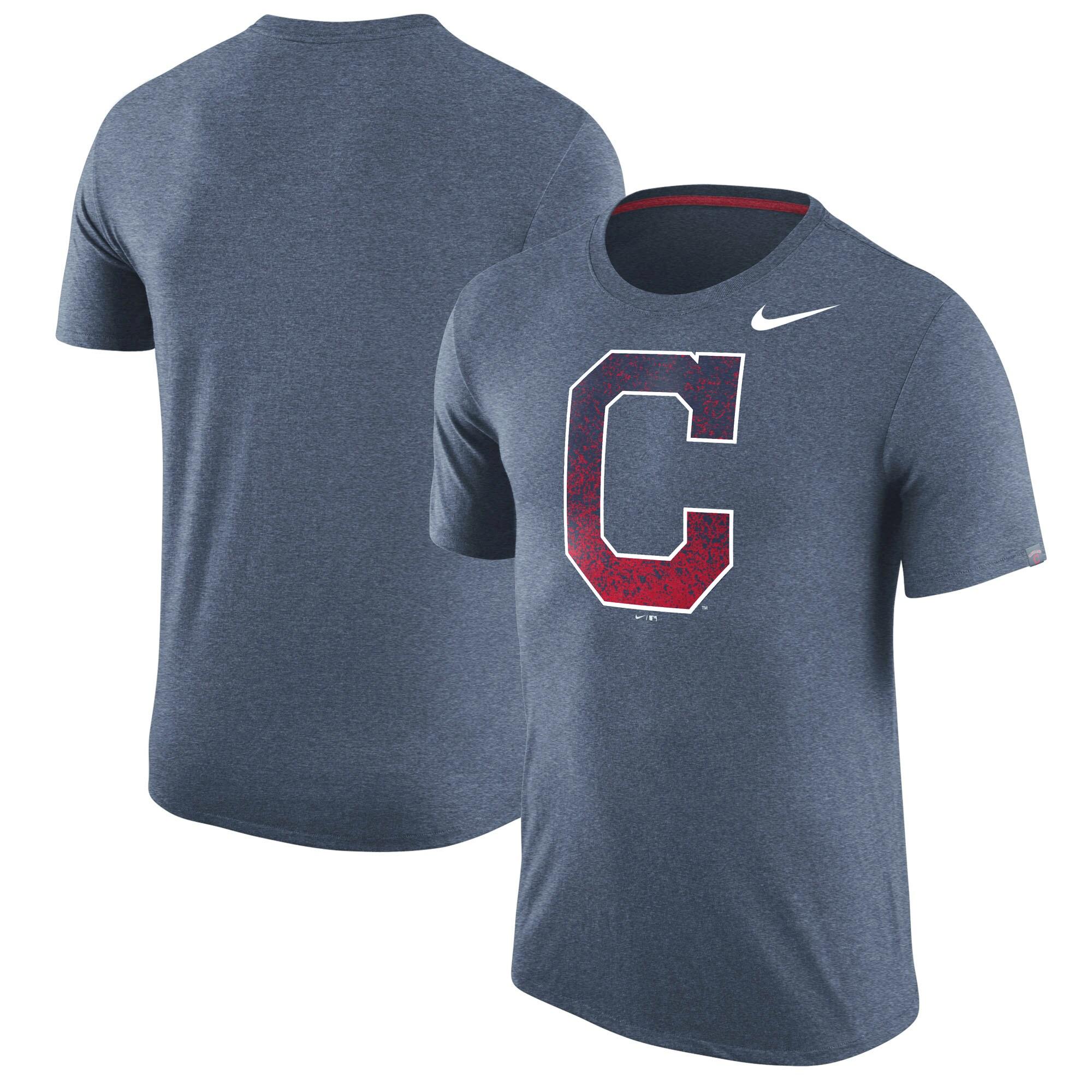 Cleveland Indians Nike Tri-Blend T-Shirt - Heathered Navy