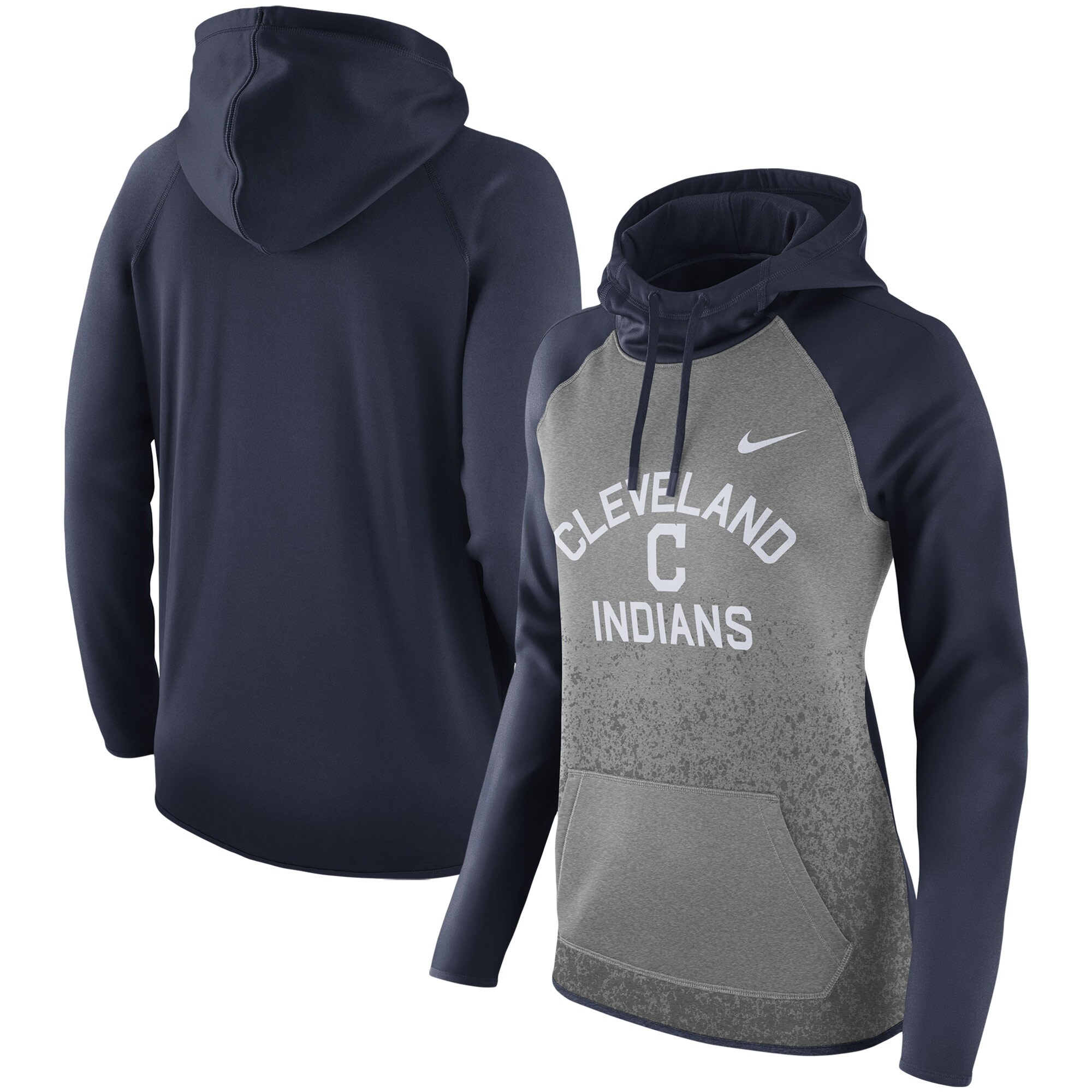 Cleveland Indians Nike Women's All-Time Therma Performance Pullover Hoodie - Dark Gray