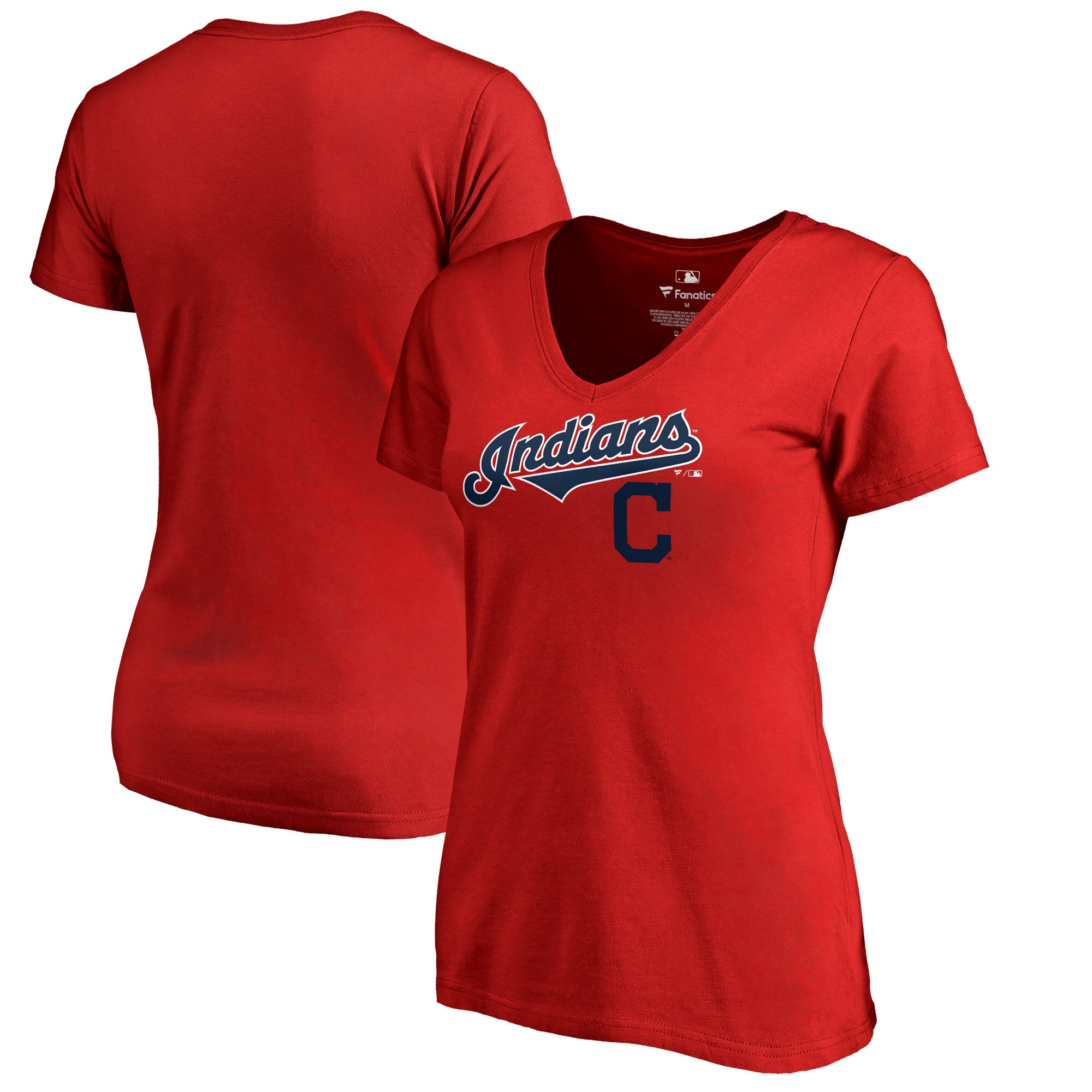 Cleveland Indians Fanatics Branded Women's Plus Sizes Team Lockup T-Shirt - Red