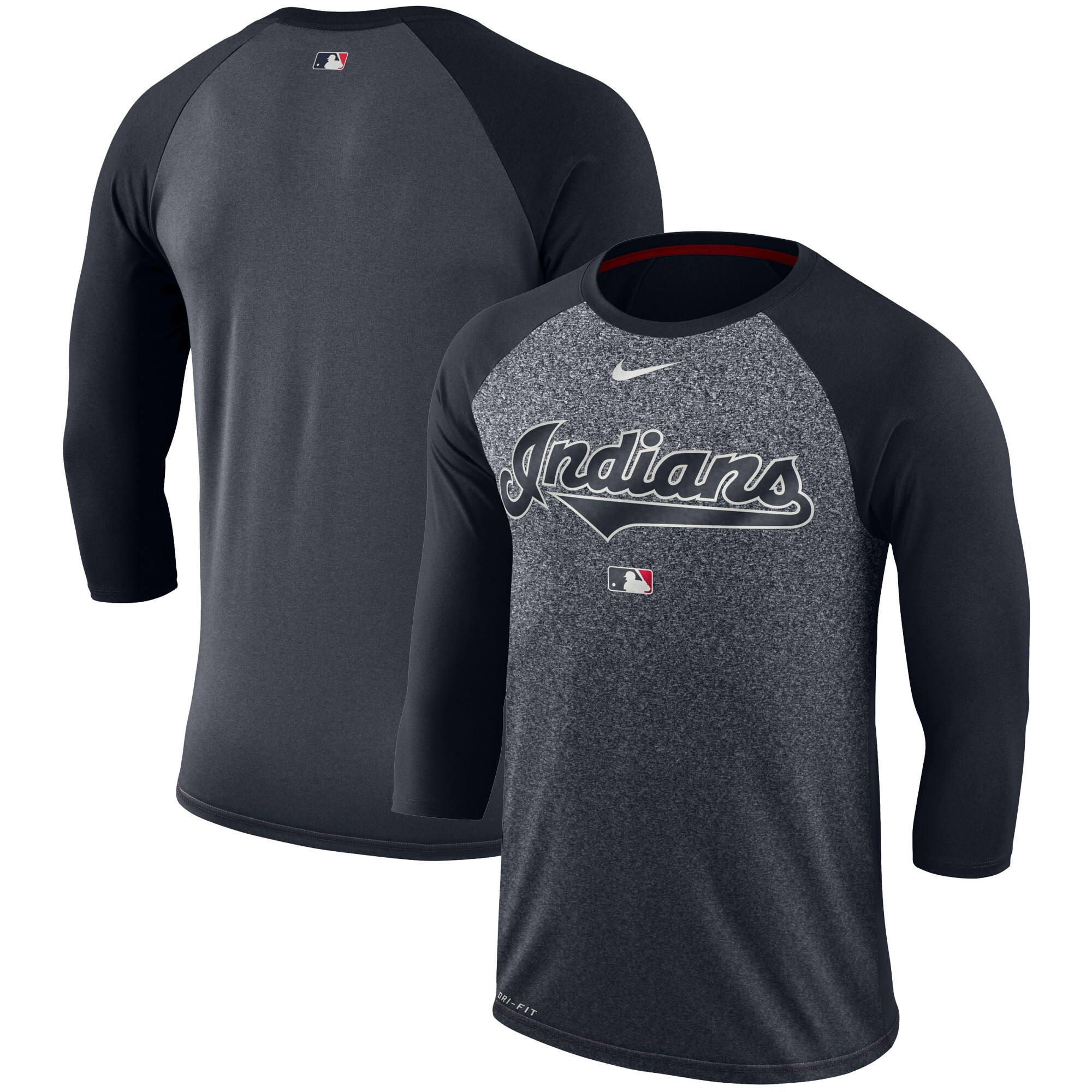 Cleveland Indians Nike Authentic Collection Legend 3/4-Sleeve Raglan Performance T-Shirt - Navy