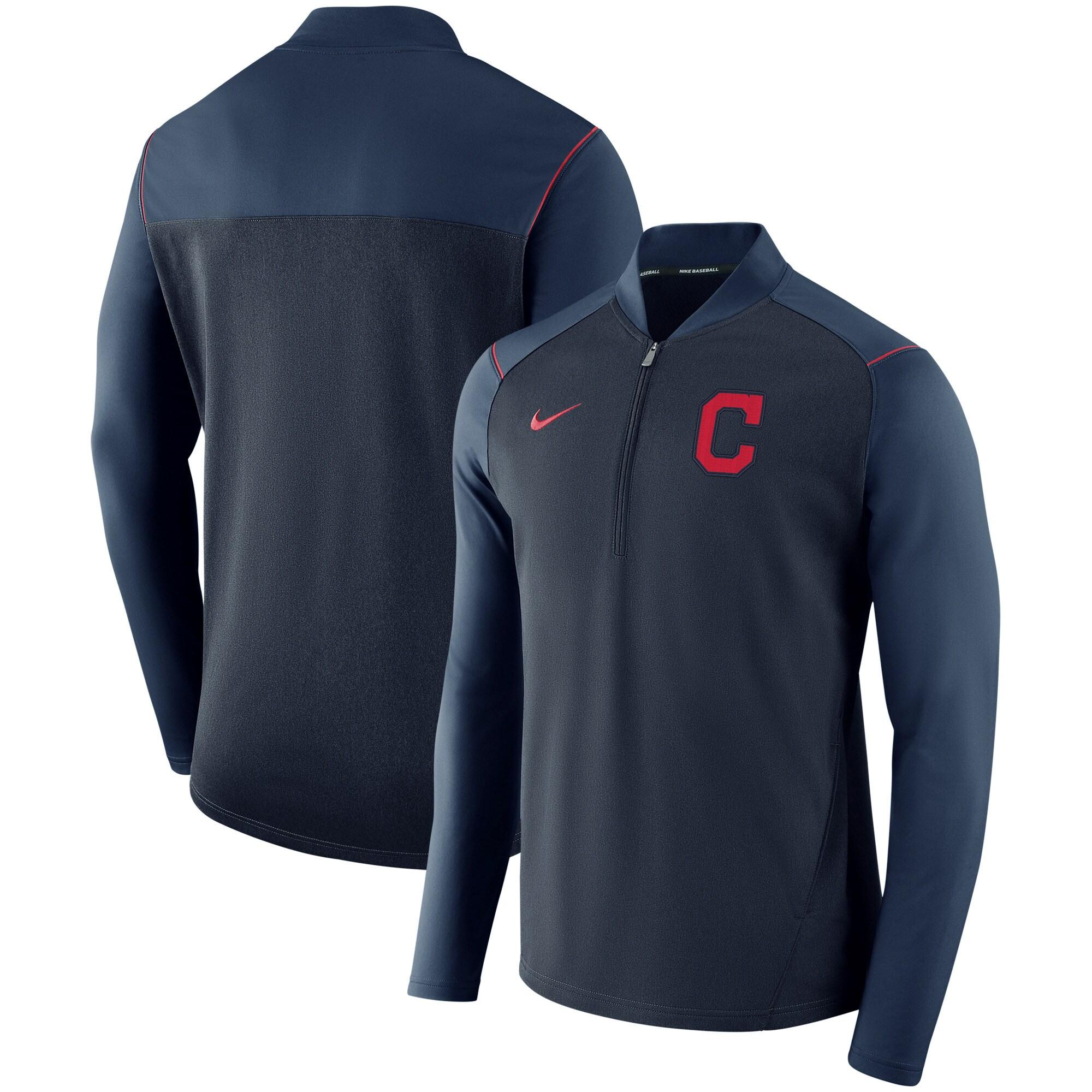 Cleveland Indians Nike Elite Performance Half-Zip Pullover Jacket - Navy