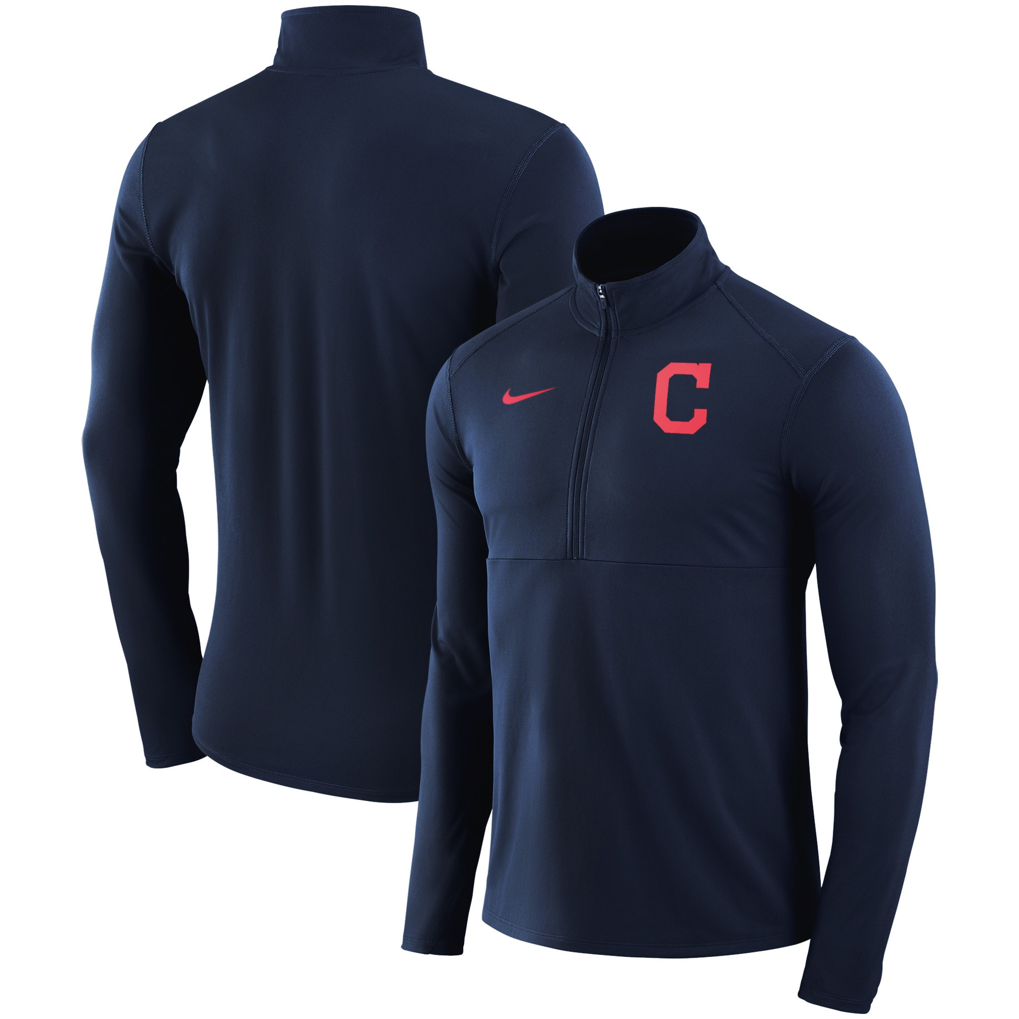 Cleveland Indians Nike Dry Element Half-Zip Performance Pullover - Navy