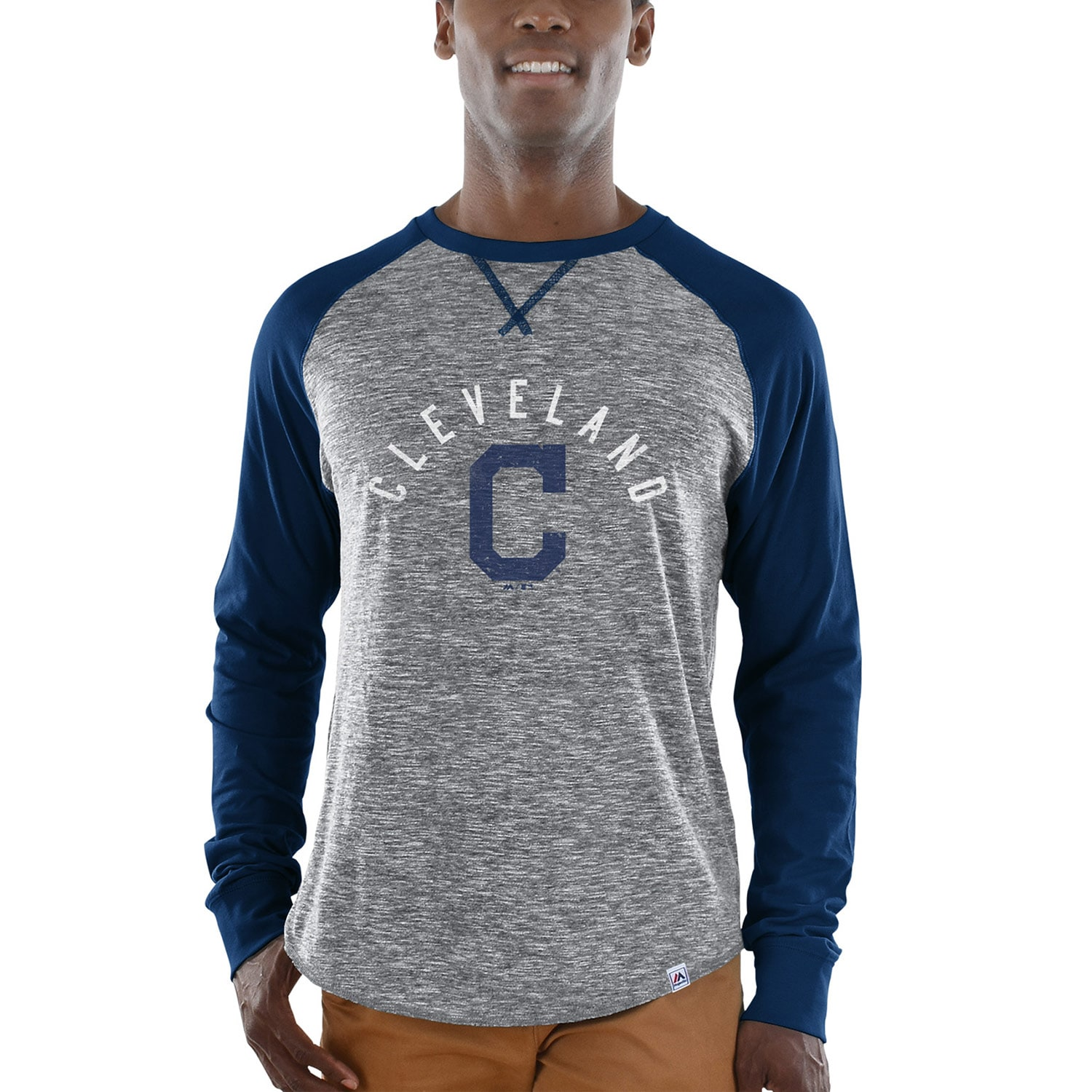 Cleveland Indians Majestic Special Move Long Sleeve T-Shirt - Gray/Navy