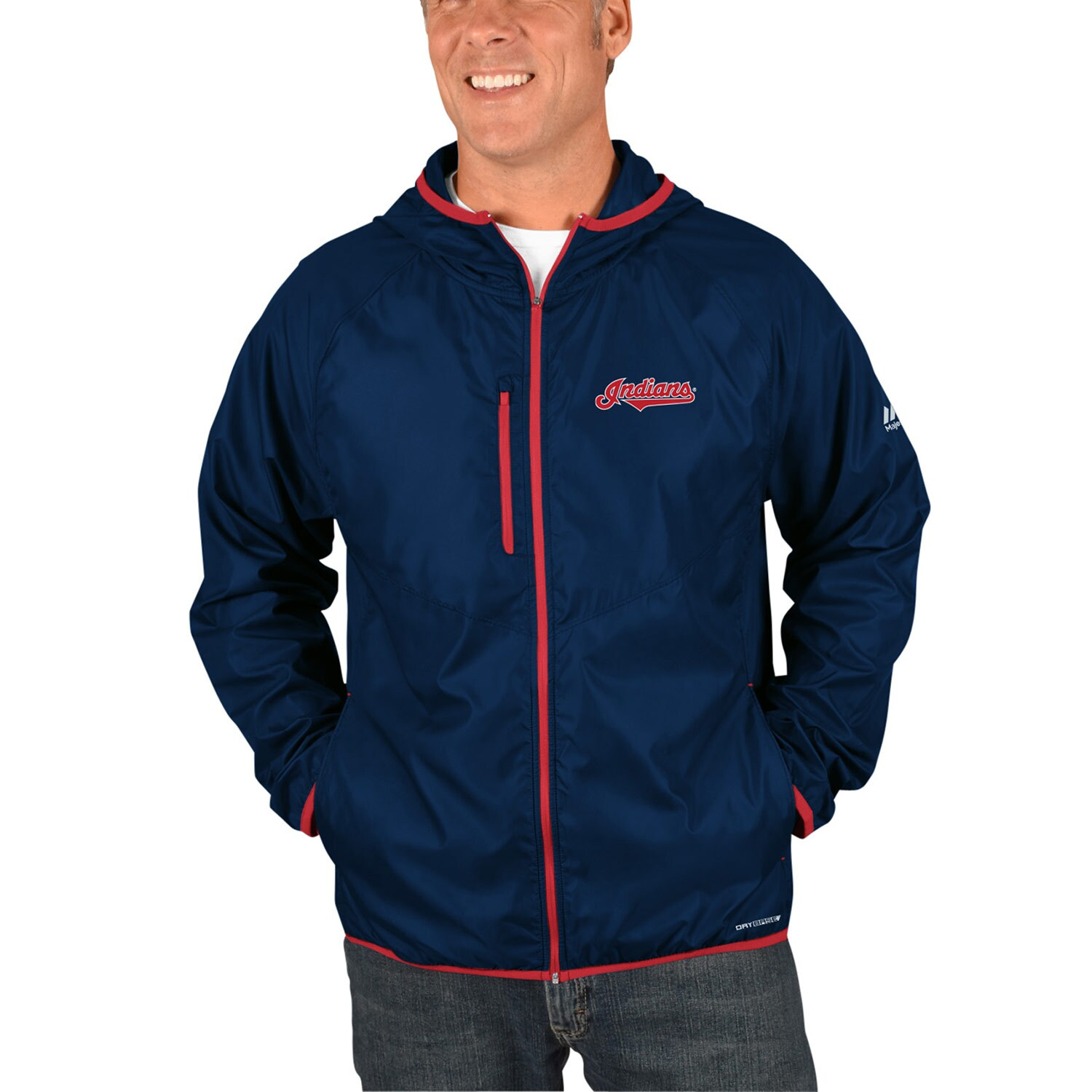 Cleveland Indians Majestic Strong Will Dry Base Full-Zip Hooded Jacket - Navy