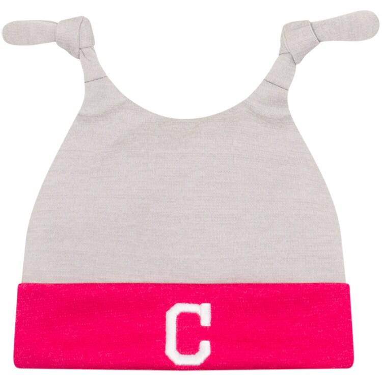 Cleveland Indians New Era Newborn Shadow Tot Dub Cuffed Knit Hat - Gray/Pink