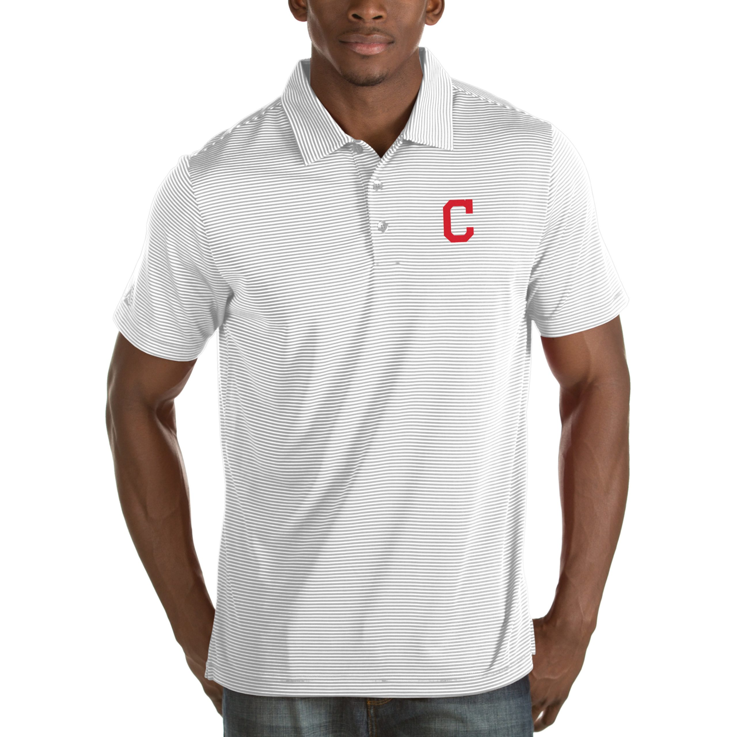 Cleveland Indians Antigua Quest Desert Dry Polo - White