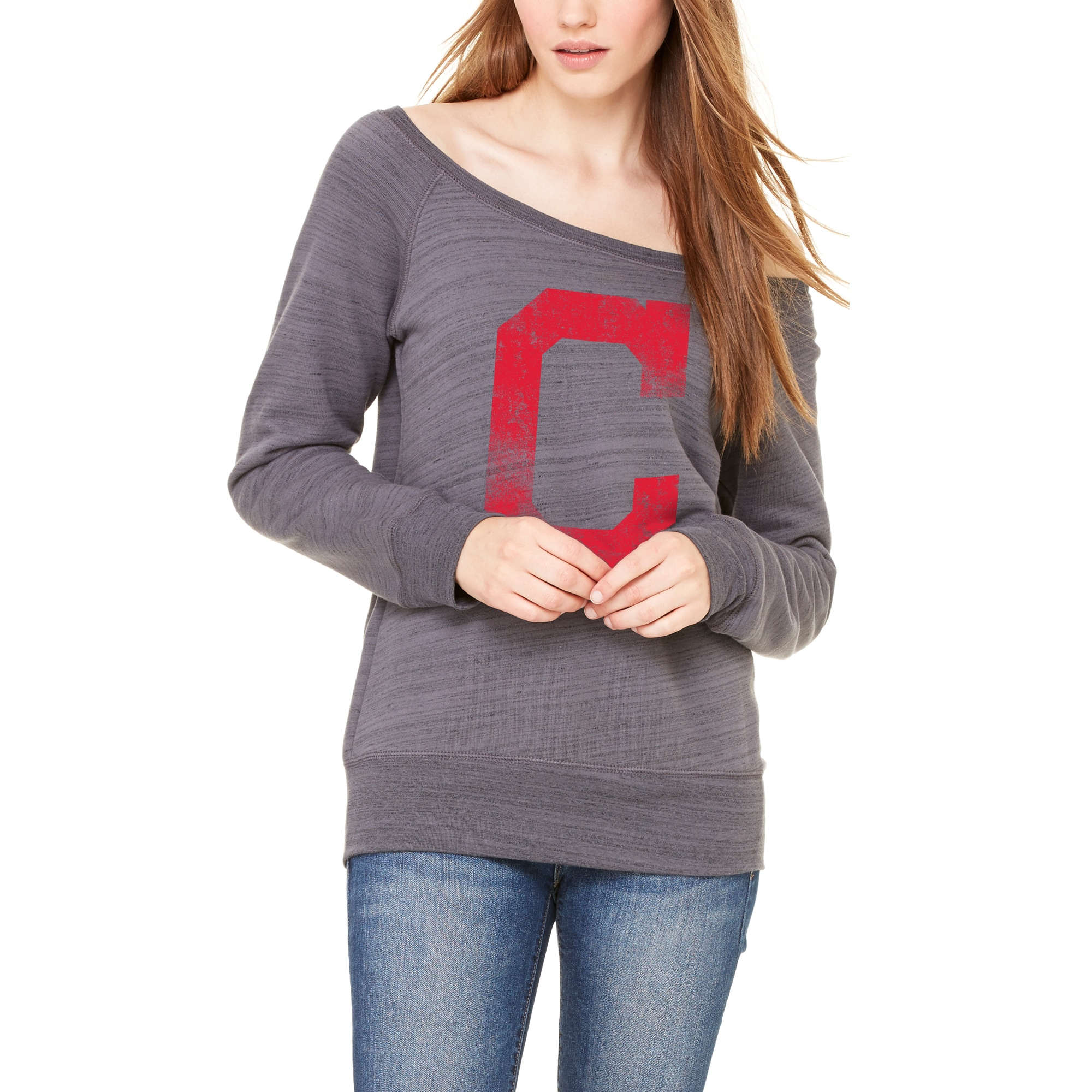 Cleveland Indians Let Loose by RNL Women's Game Day Wide Neck Sweatshirt - Dark Gray Marble