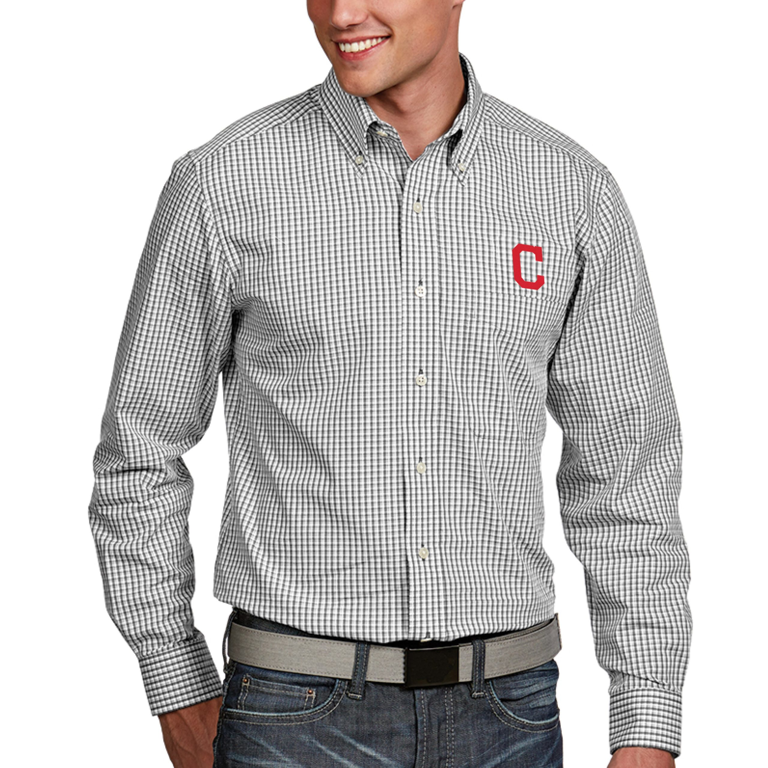 Cleveland Indians Antigua Associate Button-Down Dress Long Sleeve Shirt - White
