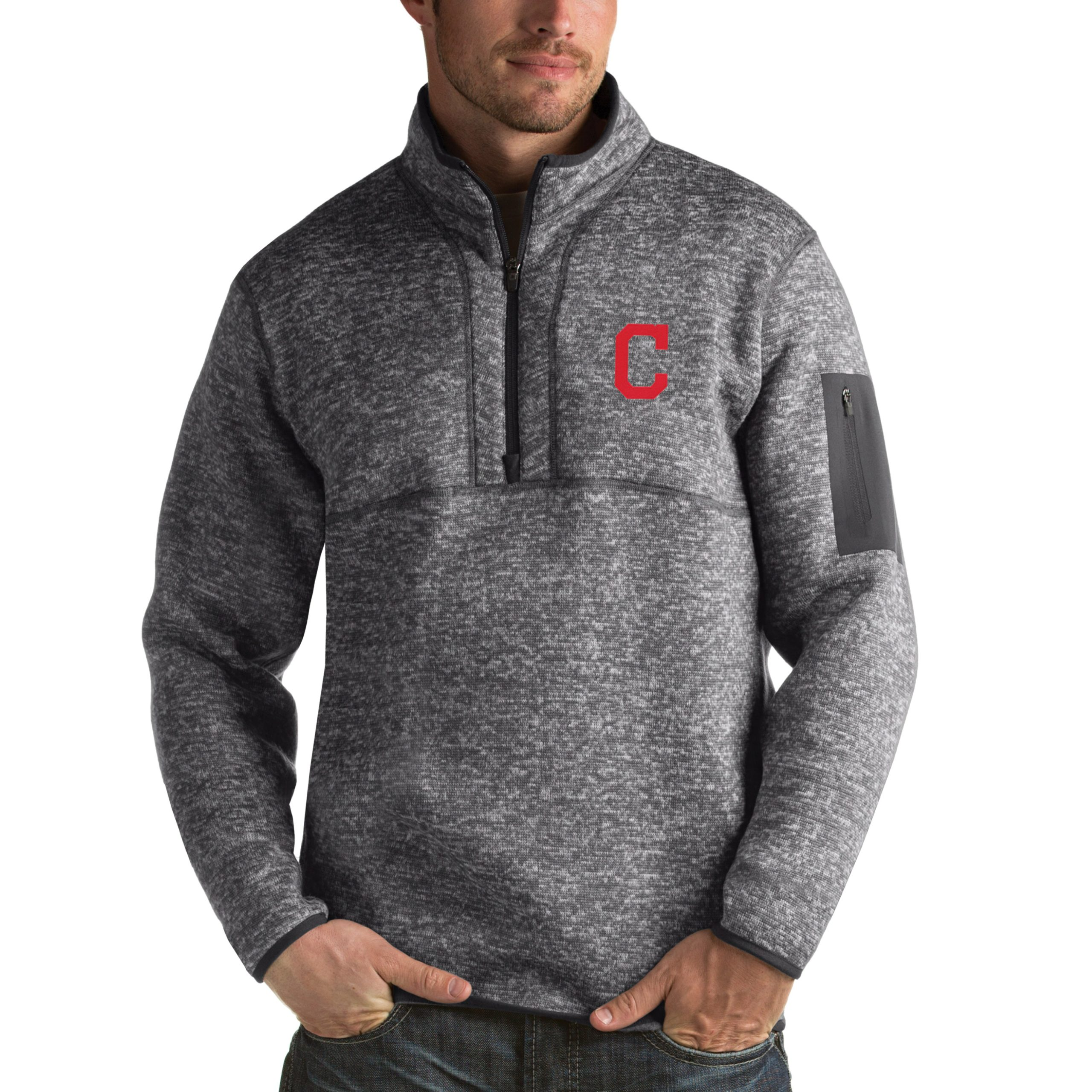 Cleveland Indians Antigua Fortune Half-Zip Sweater - Heathered Charcoal