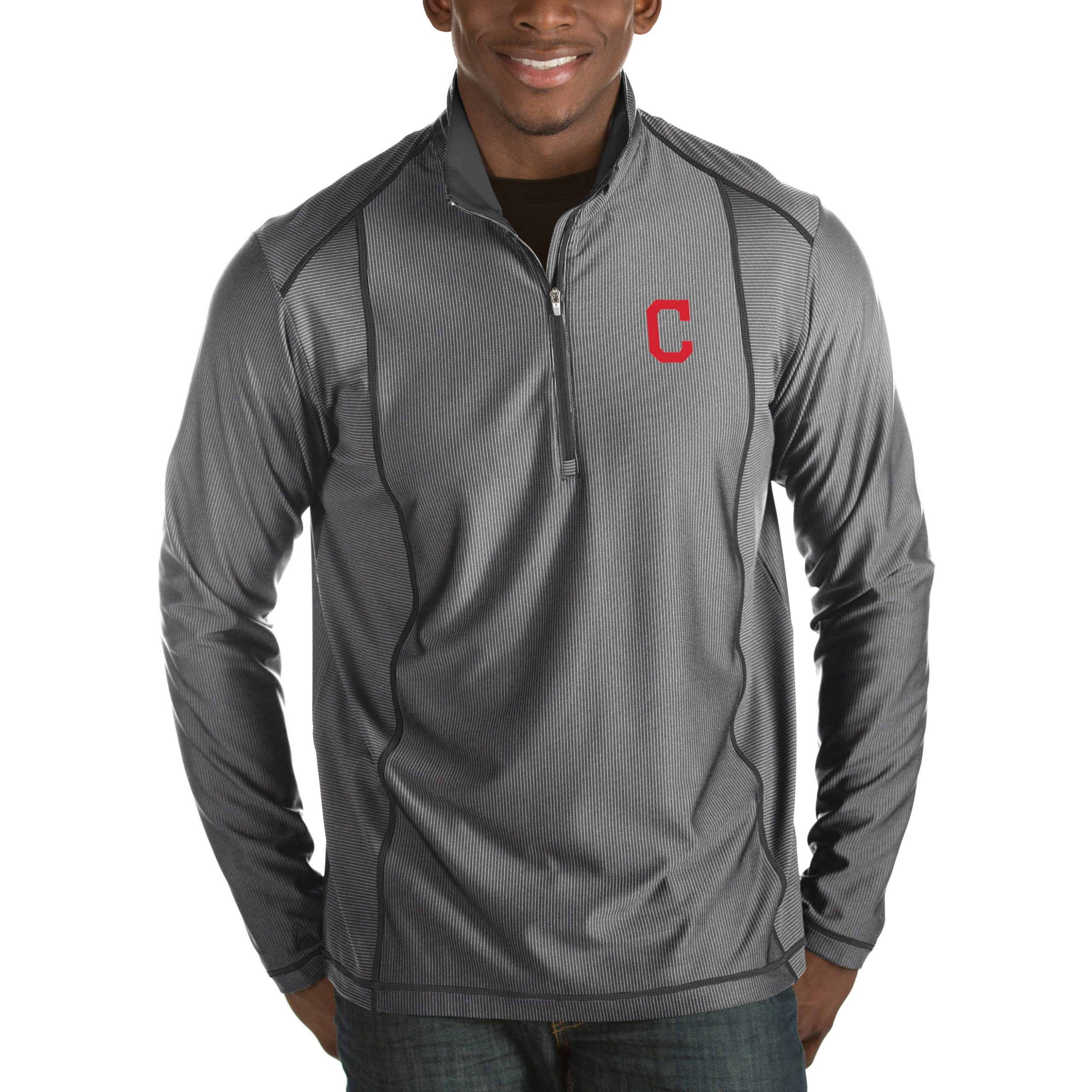 Cleveland Indians Antigua Tempo Half-Zip Pullover Jacket - Heathered Charcoal