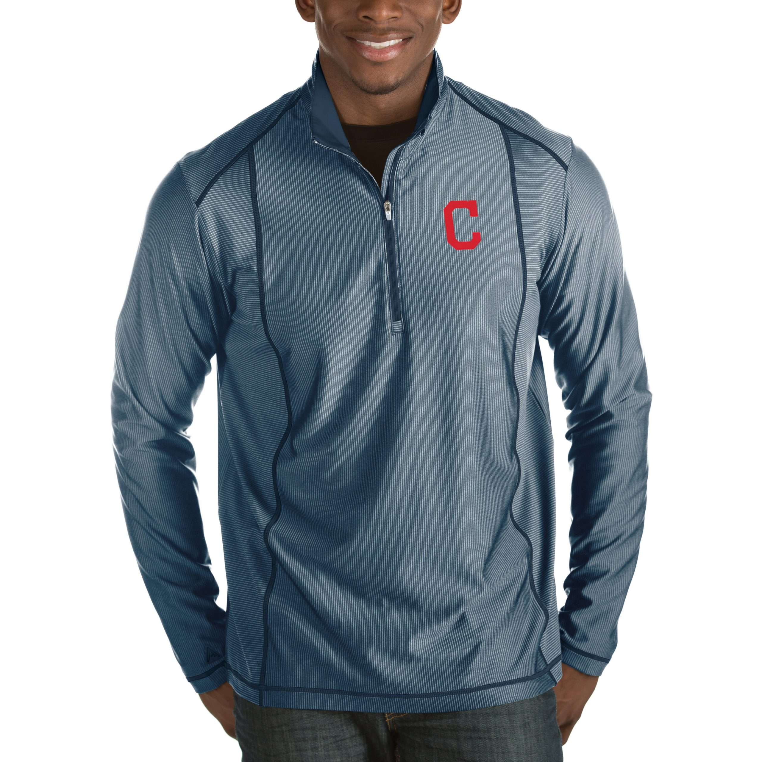 Cleveland Indians Antigua Tempo Half-Zip Pullover Jacket - Heathered Navy