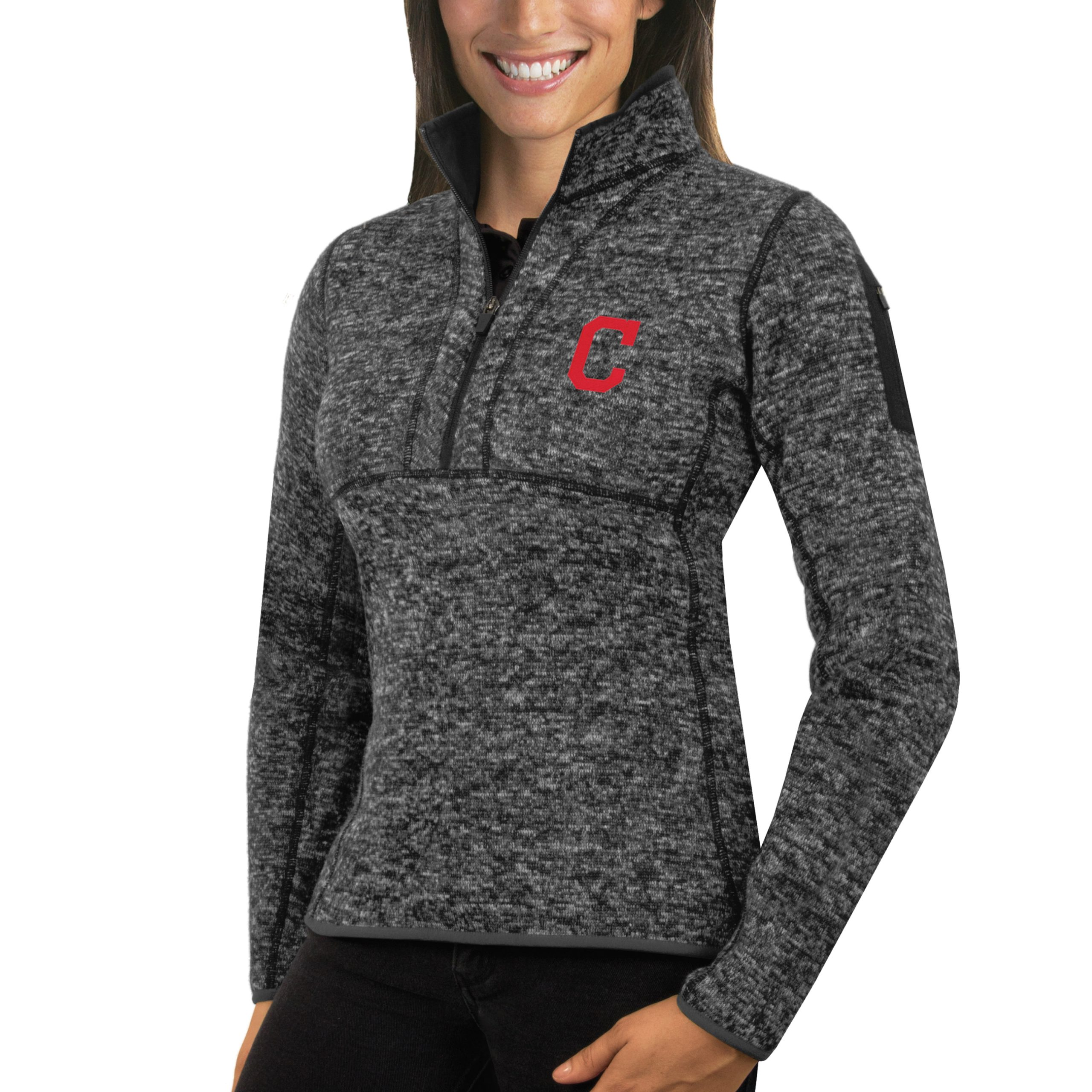 Cleveland Indians Antigua Women's Fortune Half-Zip Pullover Sweater - Heathered Charcoal