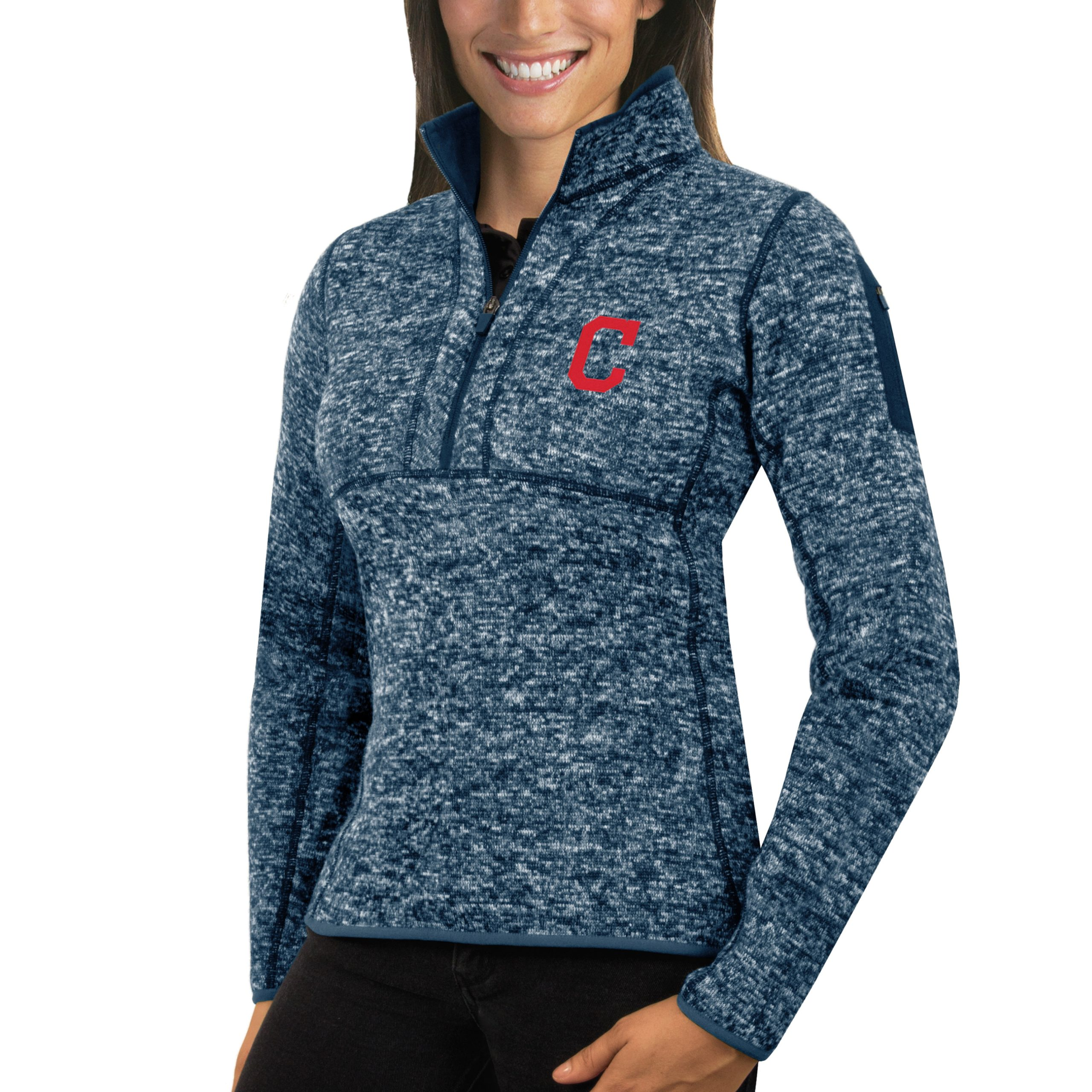 Cleveland Indians Antigua Women's Fortune Half-Zip Pullover Sweater - Heathered Navy