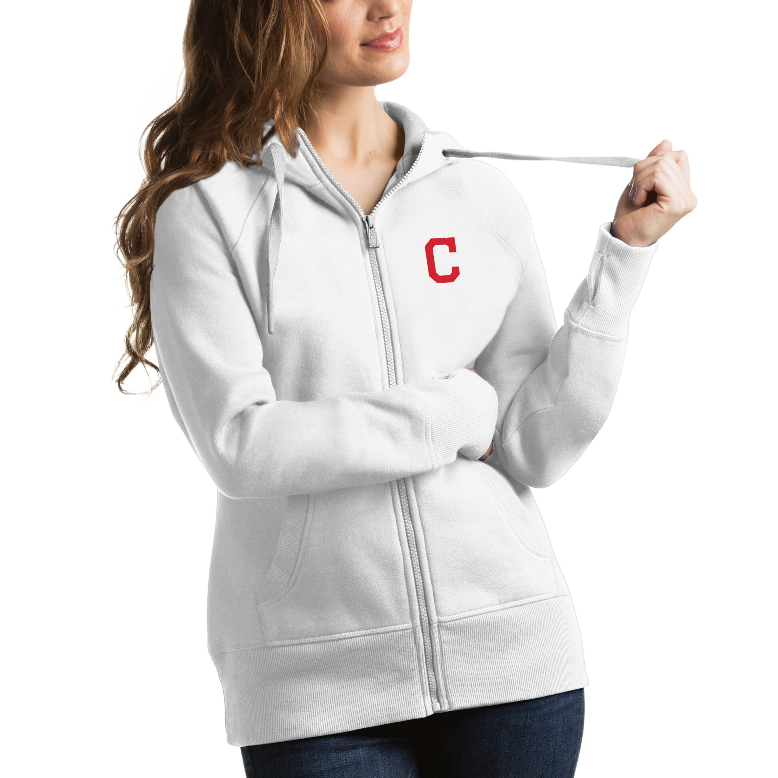 Cleveland Indians Antigua Women's Victory Full-Zip Hoodie - White