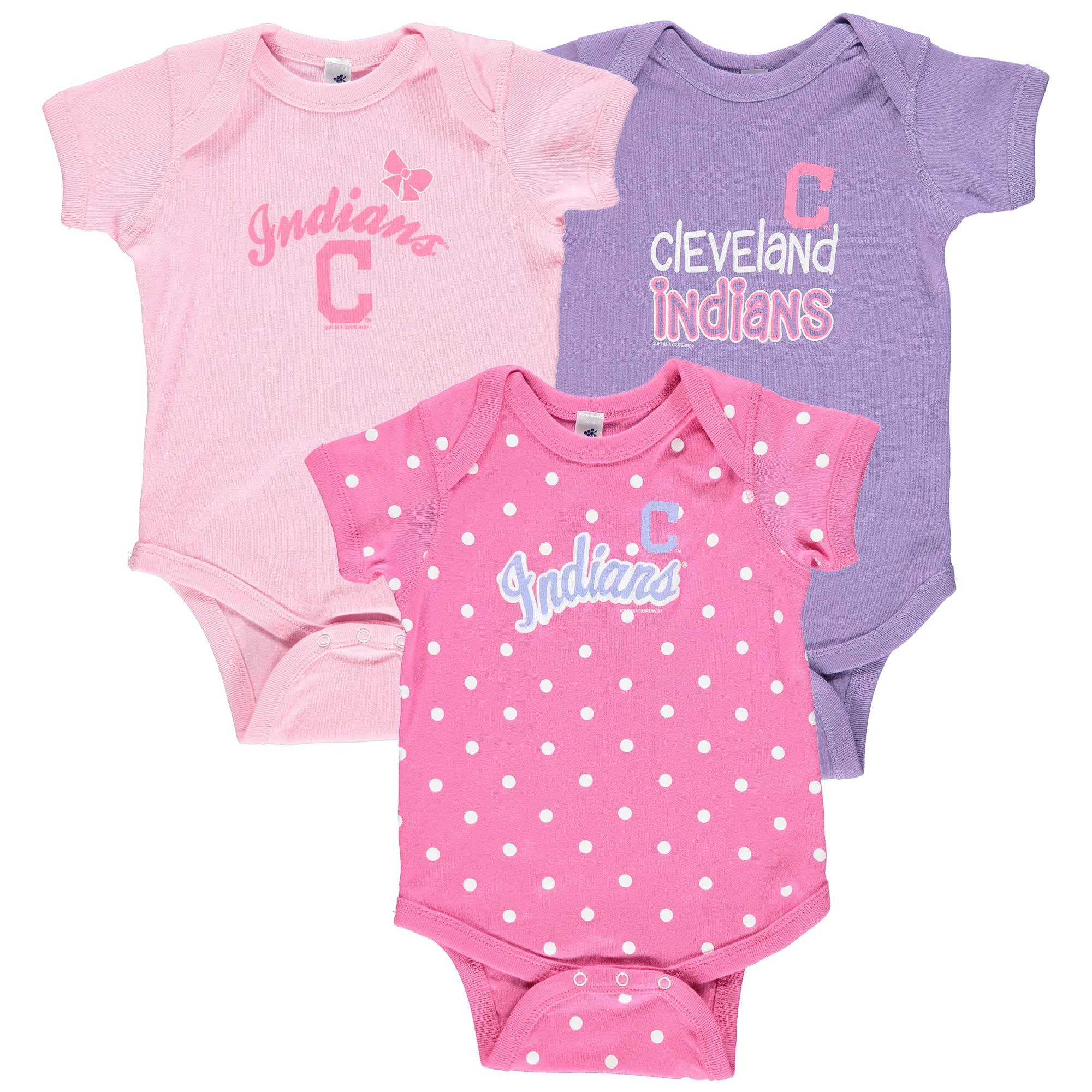 Cleveland Indians Soft as a Grape Girls Infant 3-Pack Rookie Bodysuit Set - Pink/Purple