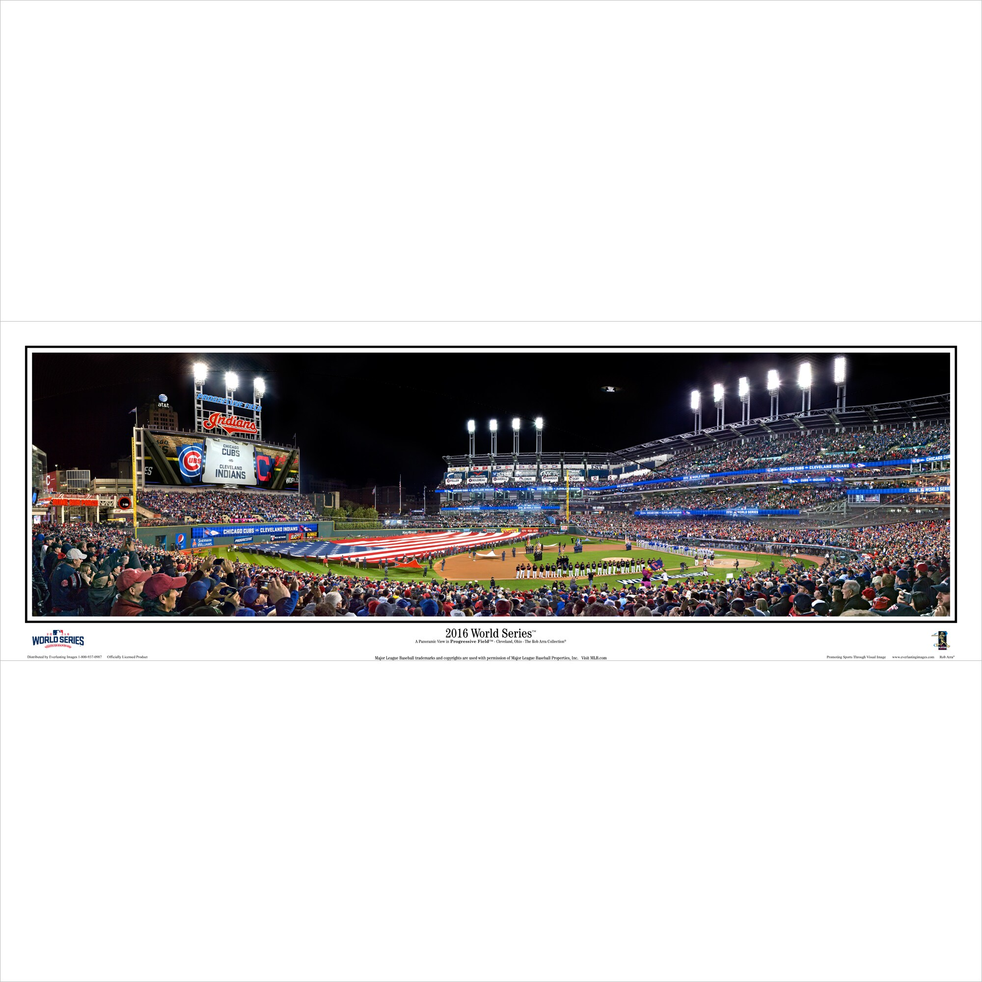 "Cleveland Indians 14"" x 40"" 2016 World Series Champions Standard Black Frame Panoramic Photo"