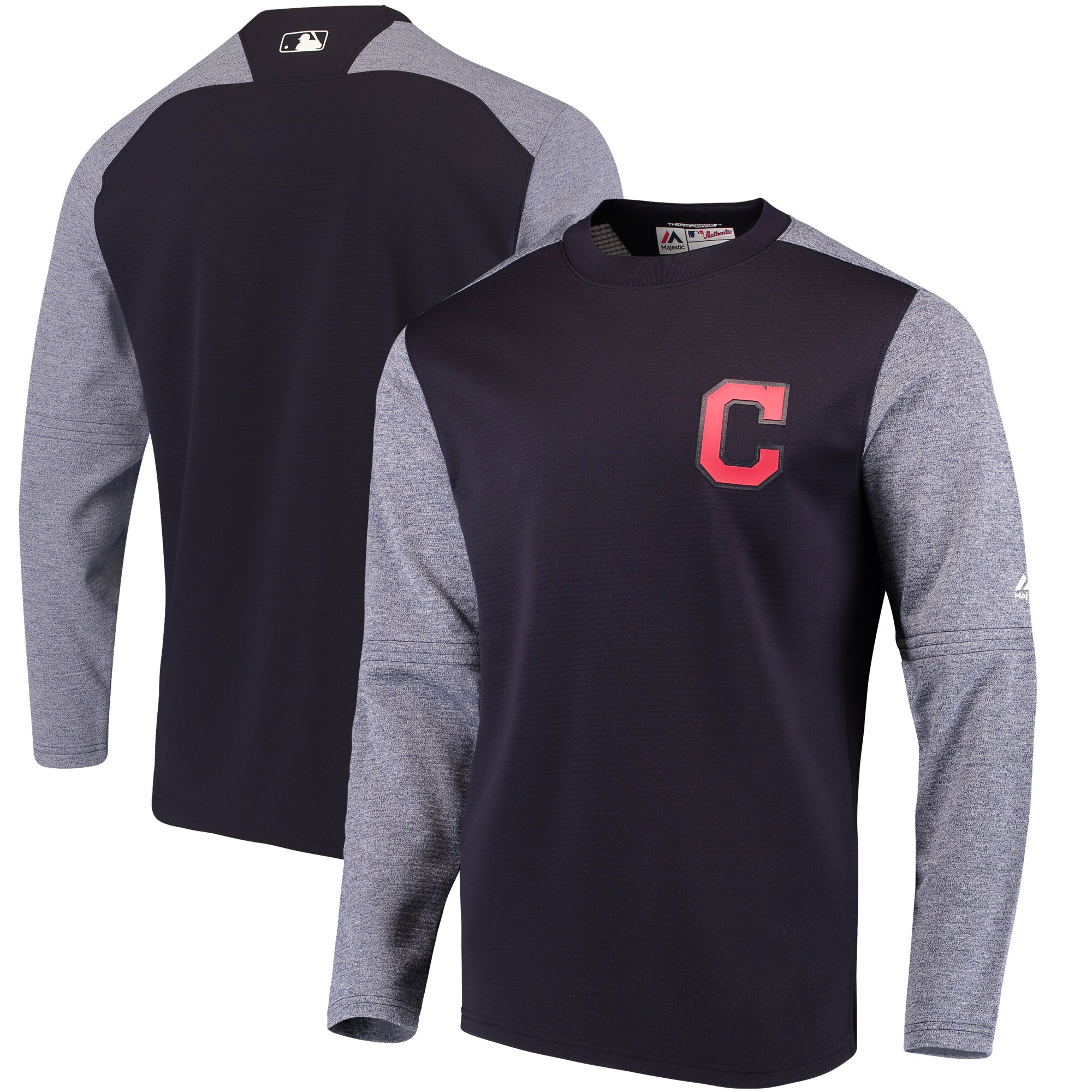 Cleveland Indians Majestic Authentic Collection On-Field Tech Fleece Pullover Sweatshirt - Navy