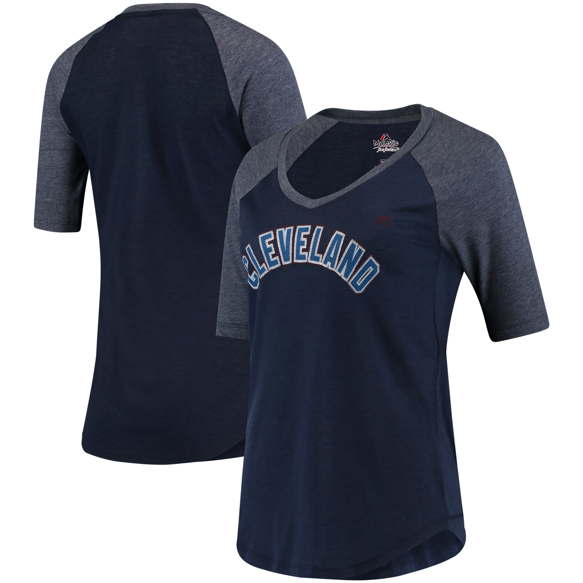 Cleveland Indians Majestic Women's Quick Hands Raglan Half-Sleeve T-Shirt - Navy