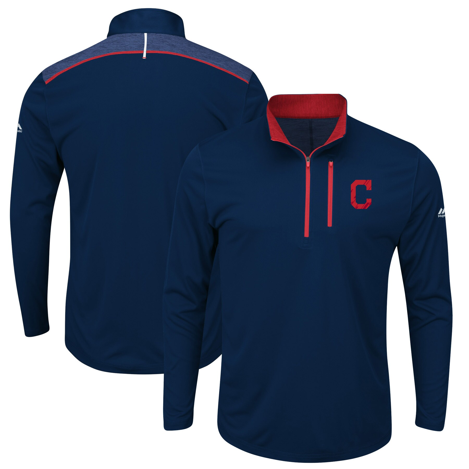 Cleveland Indians Majestic Big & Tall 643 Half-Zip Pullover Jacket - Navy