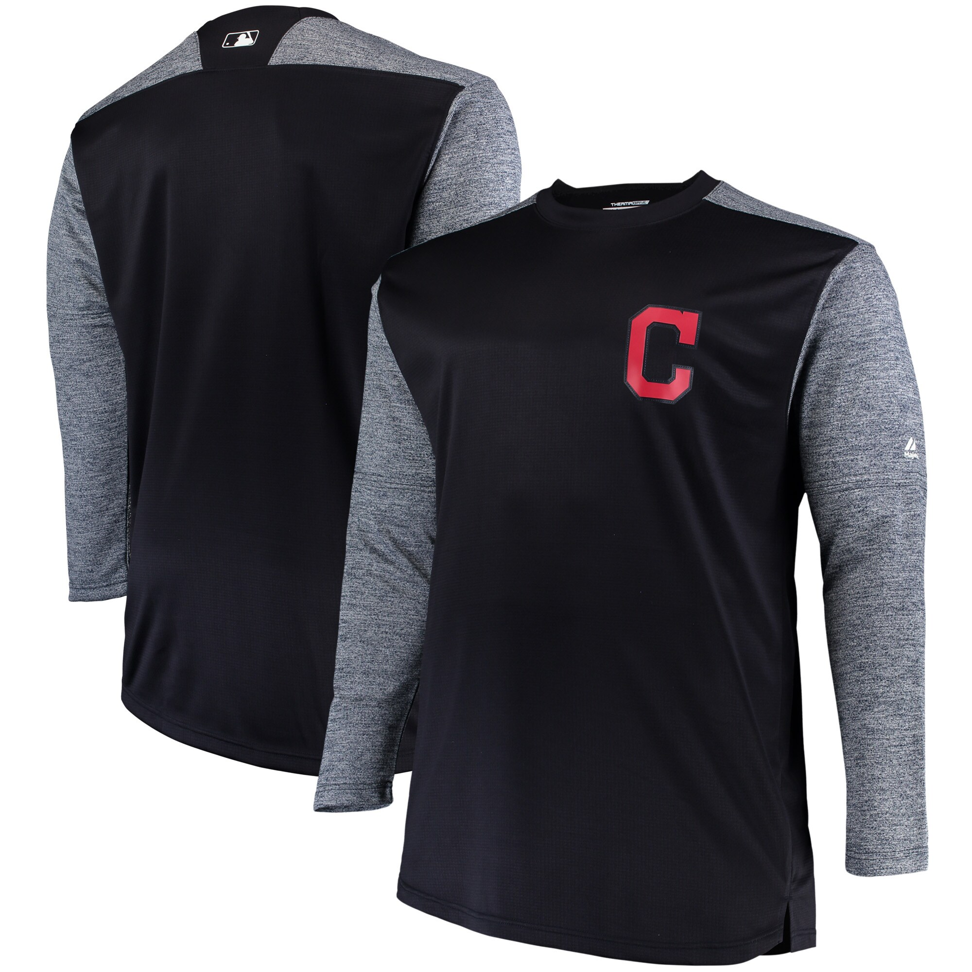 Cleveland Indians Majestic Big & Tall On-Field Tech Fleece Sweatshirt - Navy/Gray
