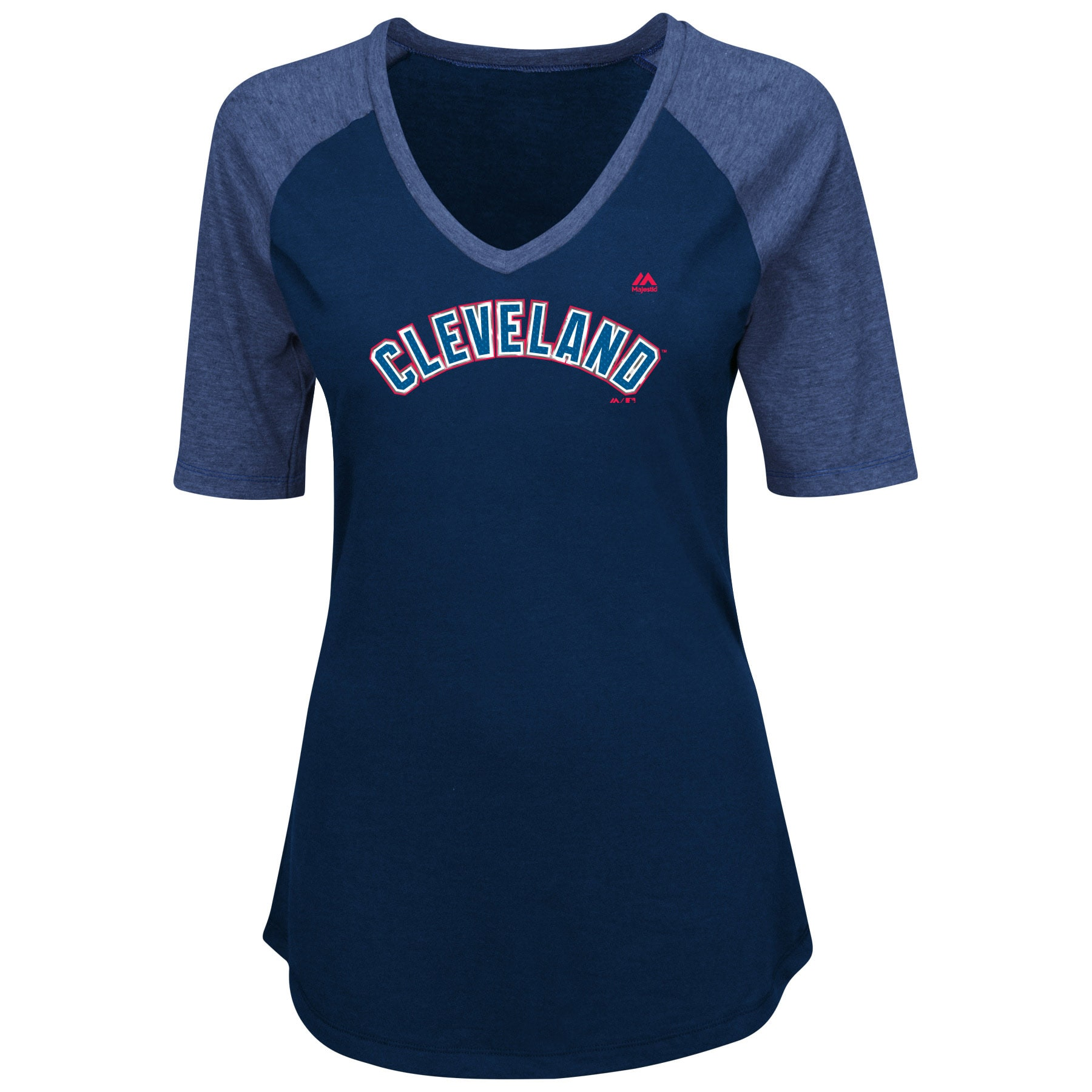 Cleveland Indians Majestic Women's Plus Size Quick Hands Half-Sleeve V-Neck Raglan T-Shirt - Navy