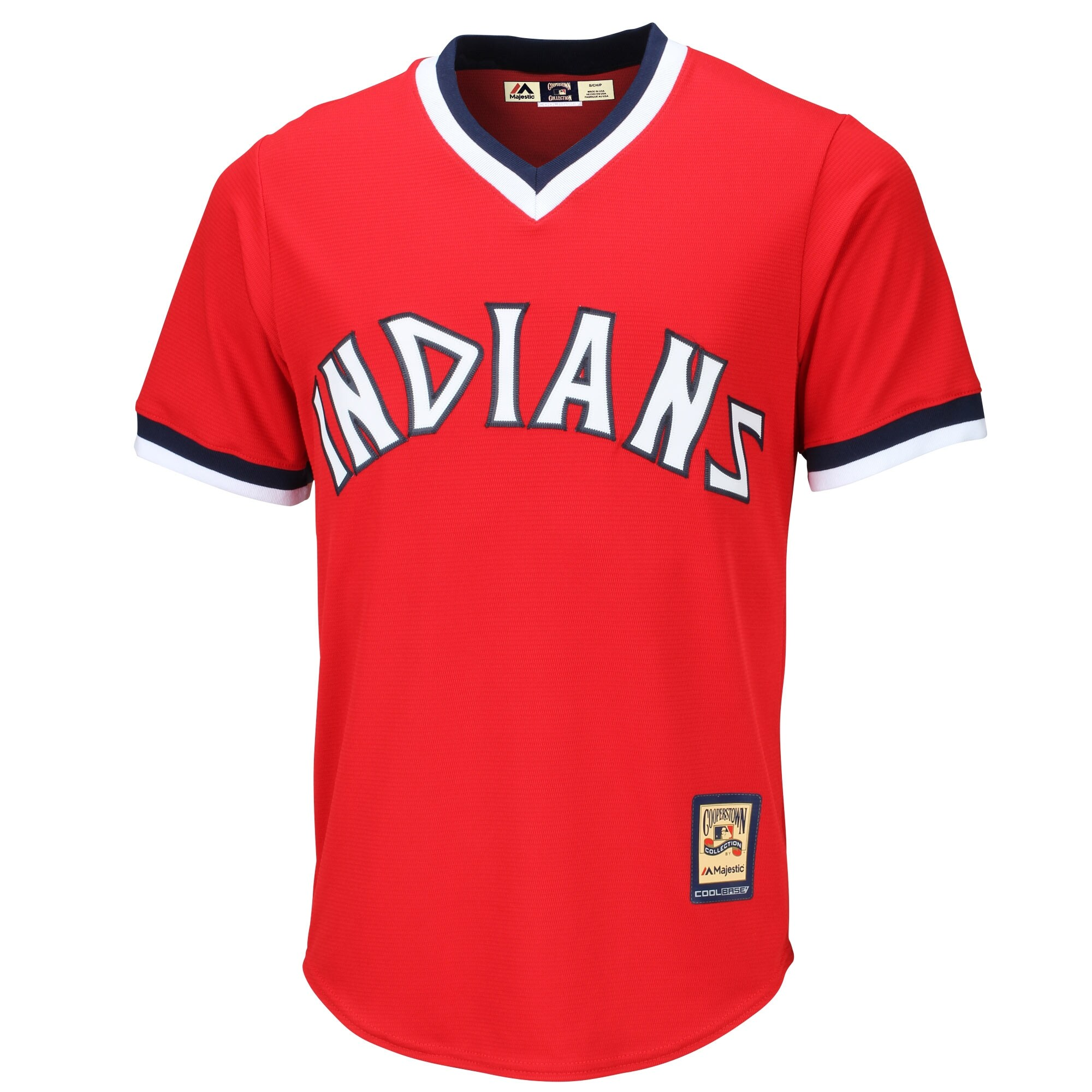 Cleveland Indians Majestic Cooperstown Cool Base Team Jersey - Red
