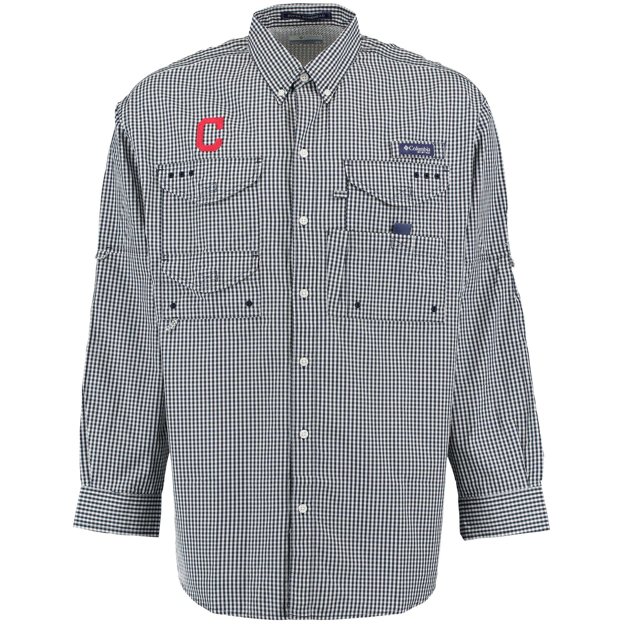 Cleveland Indians Columbia Super Bonehead Omni-Shade Long Sleeve Shirt - Navy