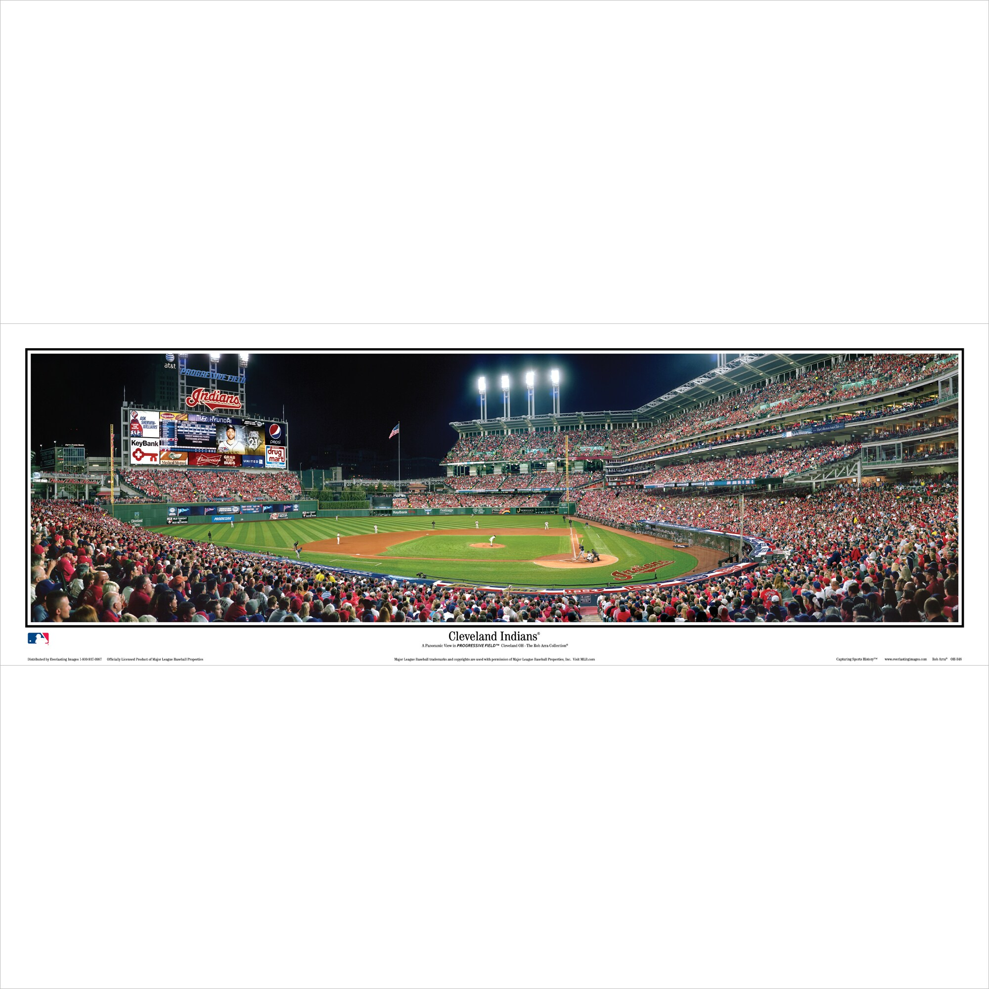 "Cleveland Indians 39"" x 13.5"" Standard Black Framed Panoramic"
