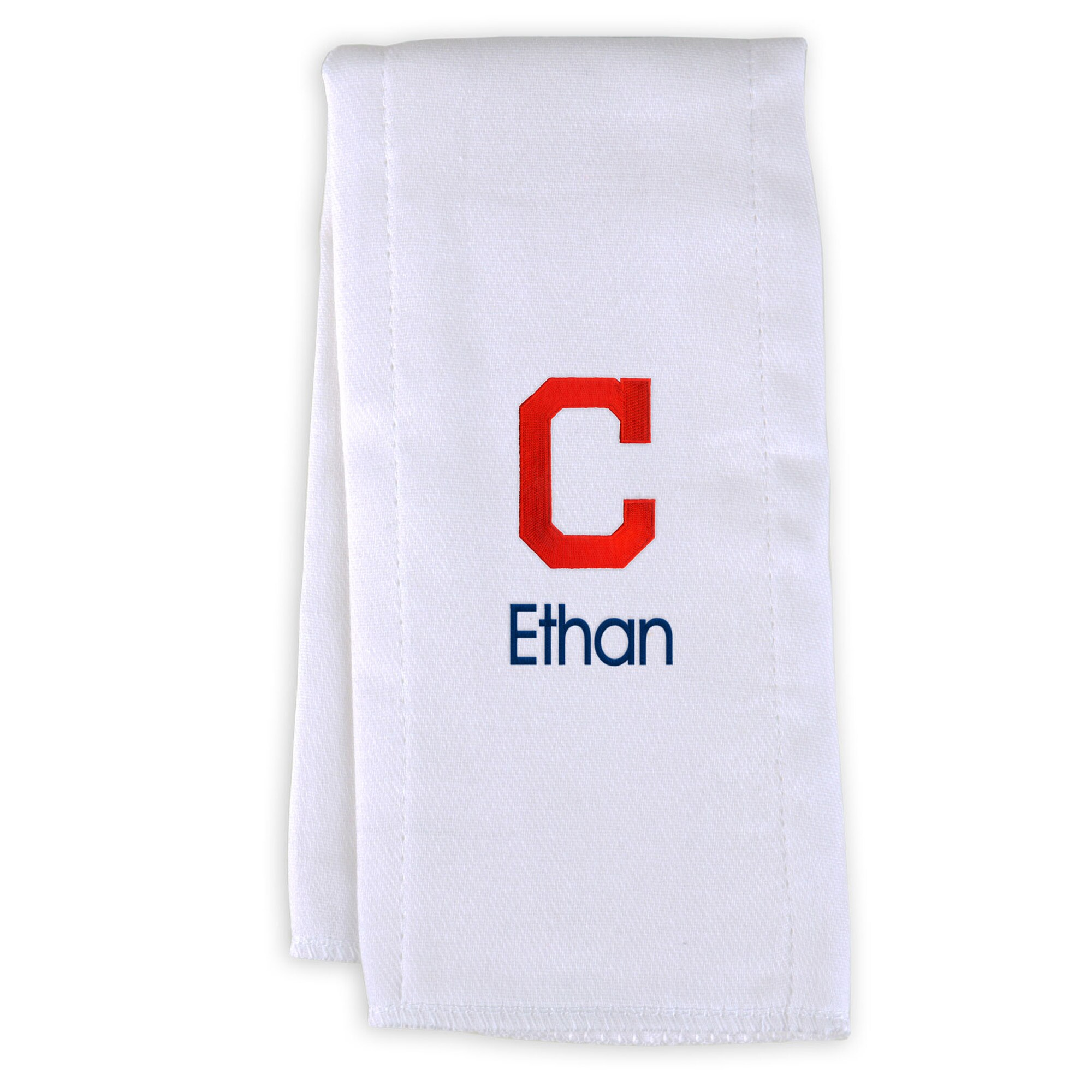 Cleveland Indians Infant Personalized Burp Cloth - White