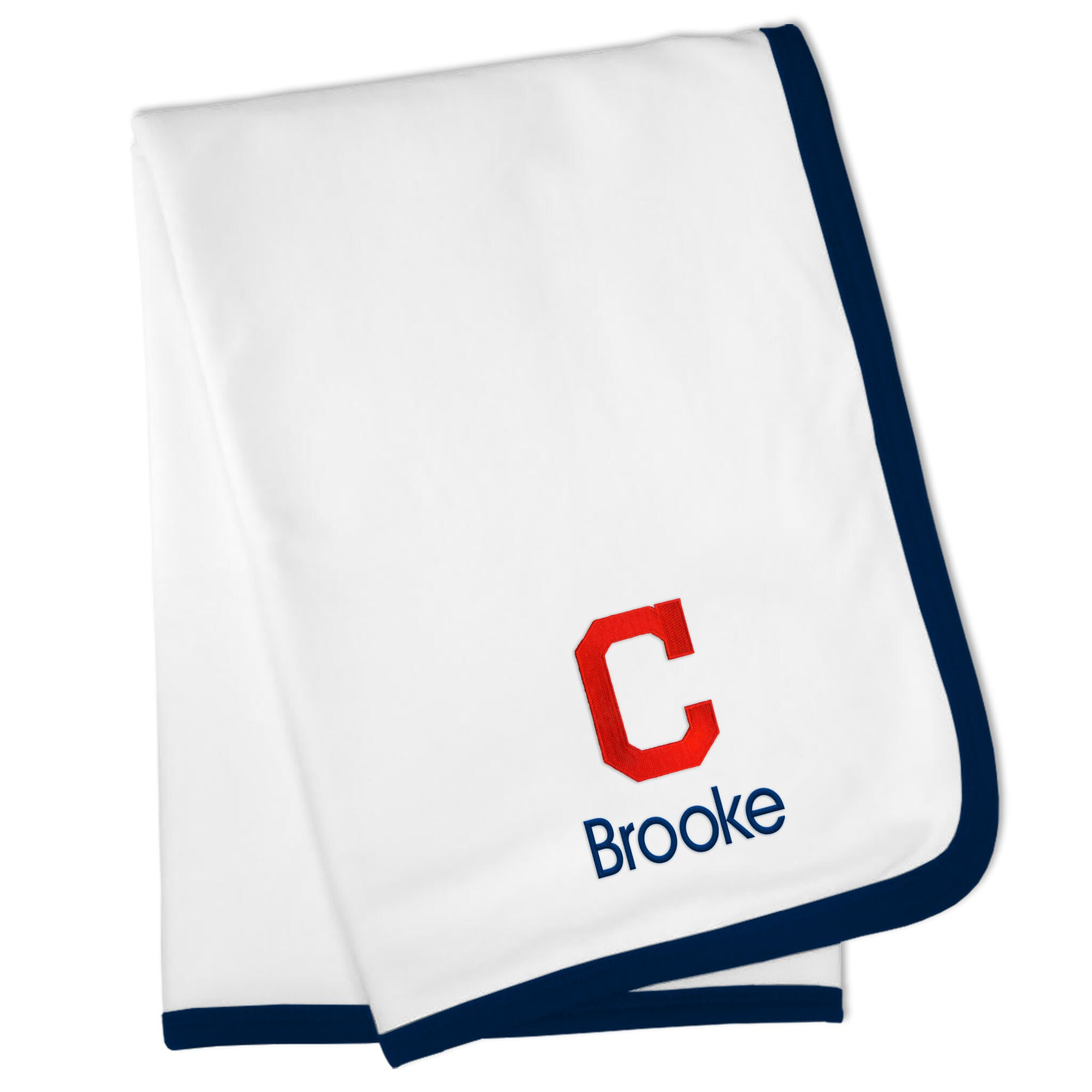 Cleveland Indians Personalized Baby Blanket - White