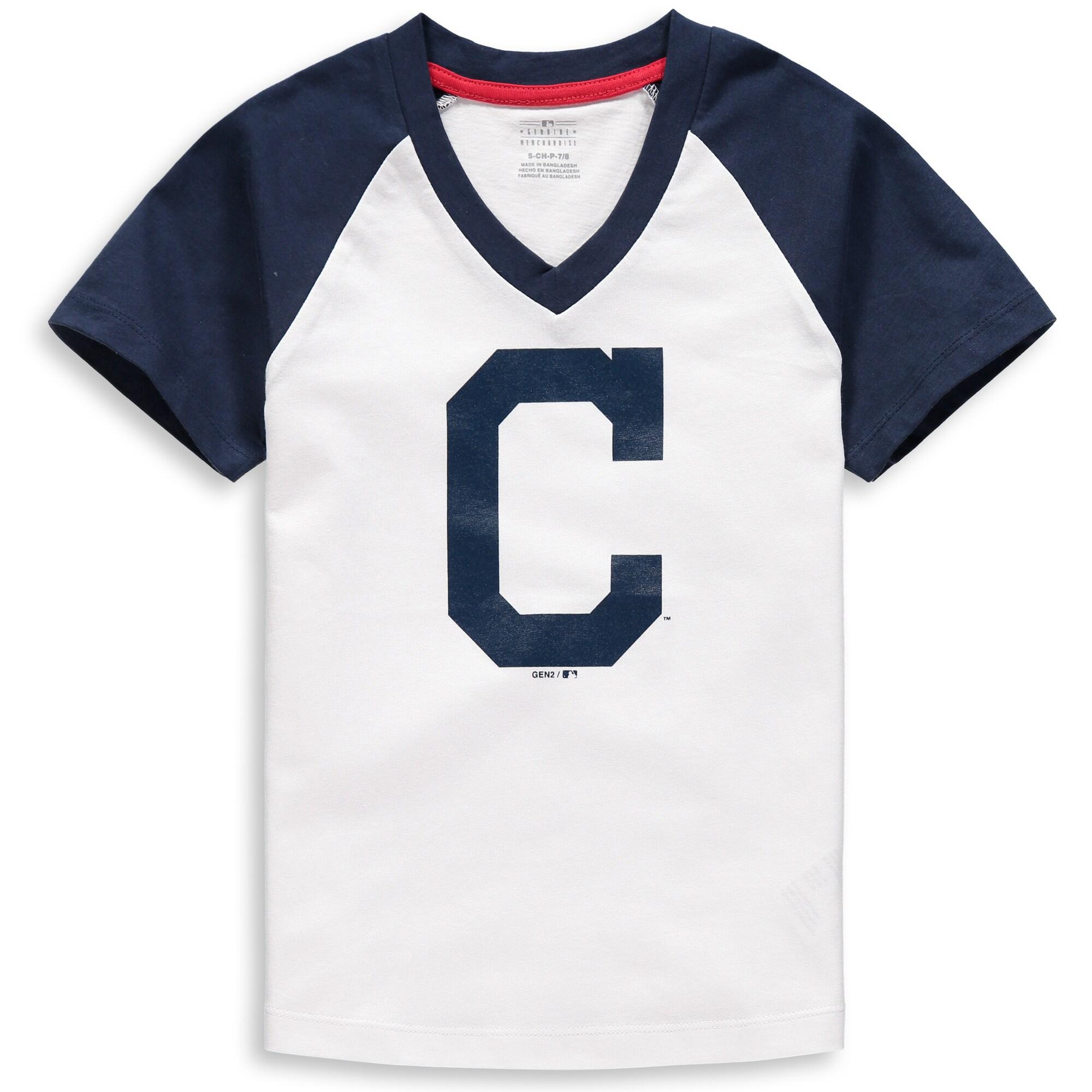 Cleveland Indians Girls Youth Back-to-Back V-Neck T-Shirt - White/Navy