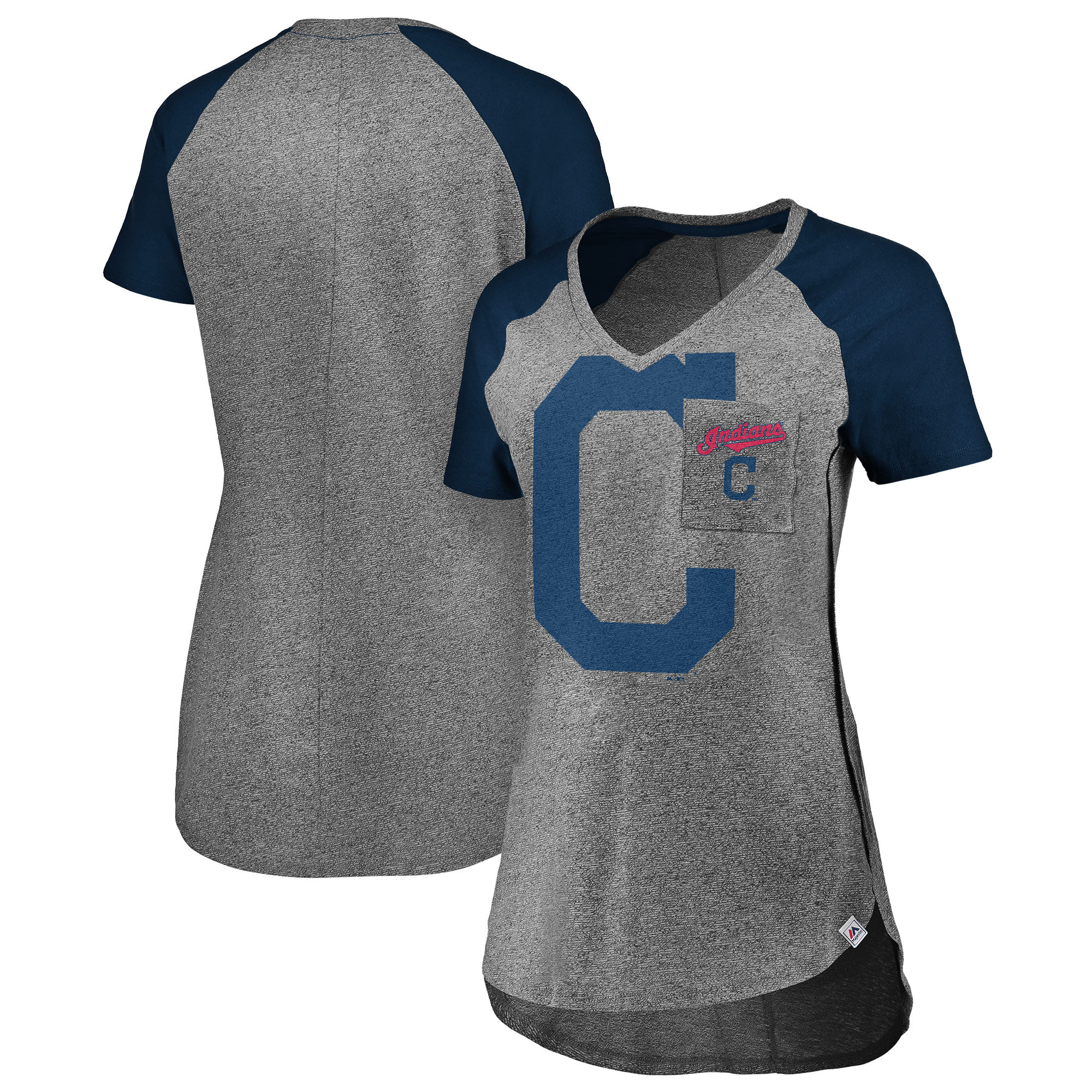 Cleveland Indians Majestic Women's Static Pocket Raglan V-Neck T-Shirt - Gray/Navy