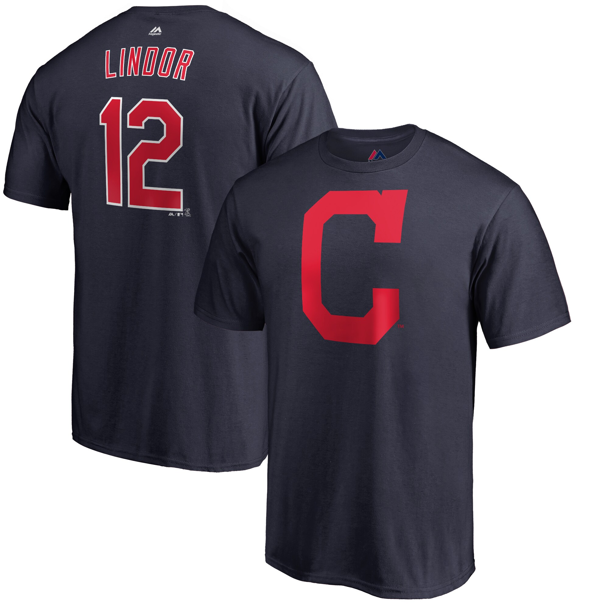 Francisco Lindor Cleveland Indians Majestic Double Play Cap Logo Name & Number T-Shirt - Navy
