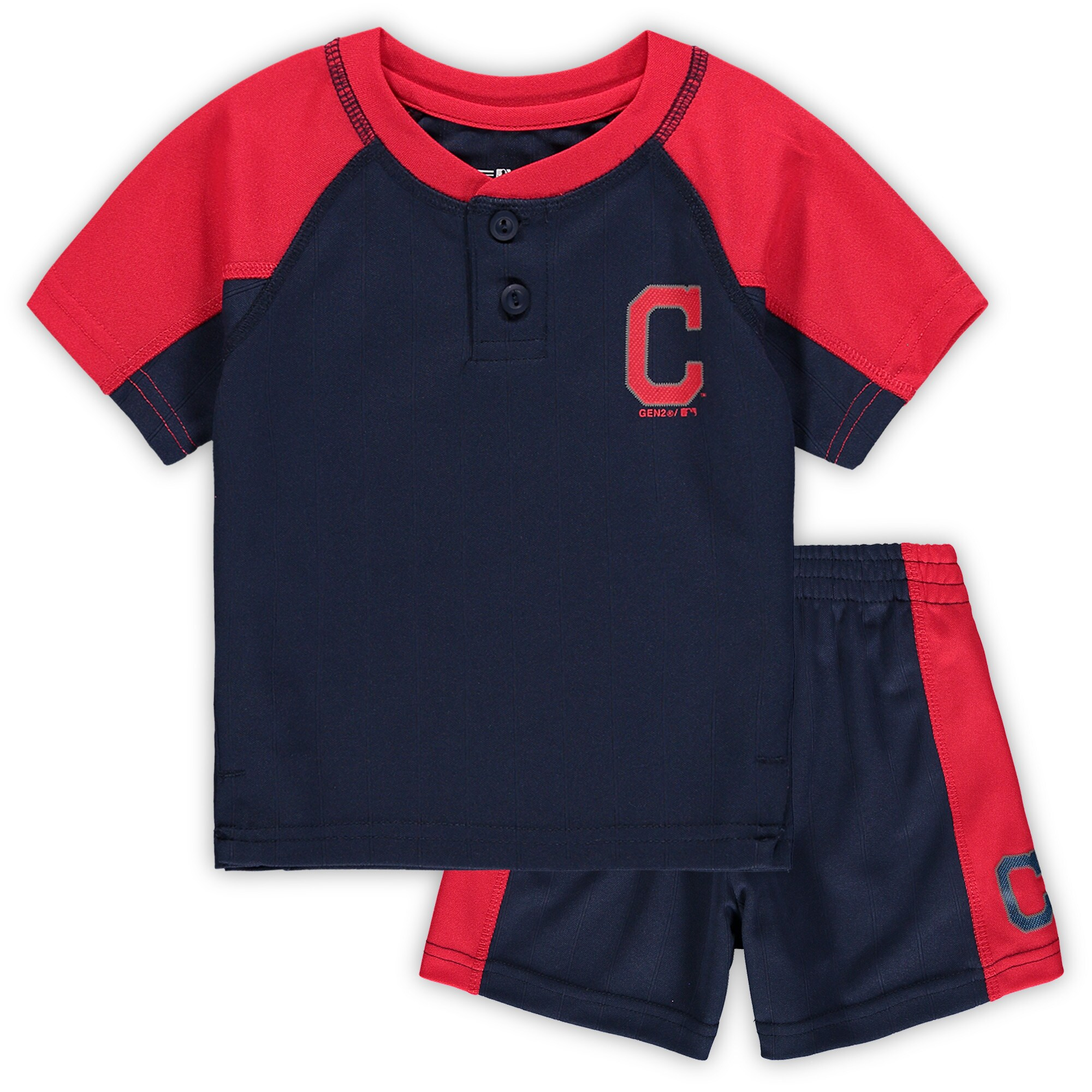 Cleveland Indians Infant Play Strong Henley T-Shirt & Shorts Set - Navy/Red