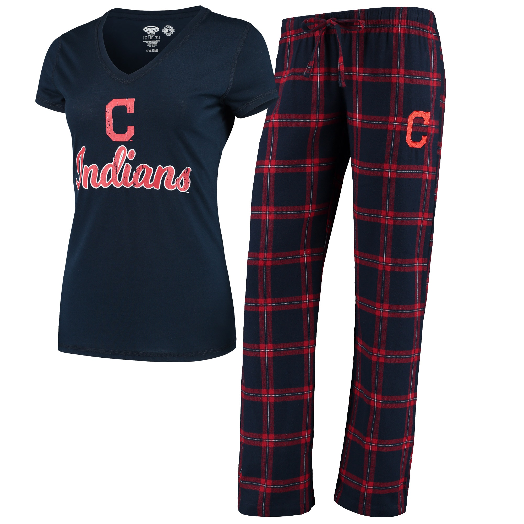 Cleveland Indians Concepts Sport Women's Troupe V-Neck T-Shirt & Pants Sleep Set - Navy/Red