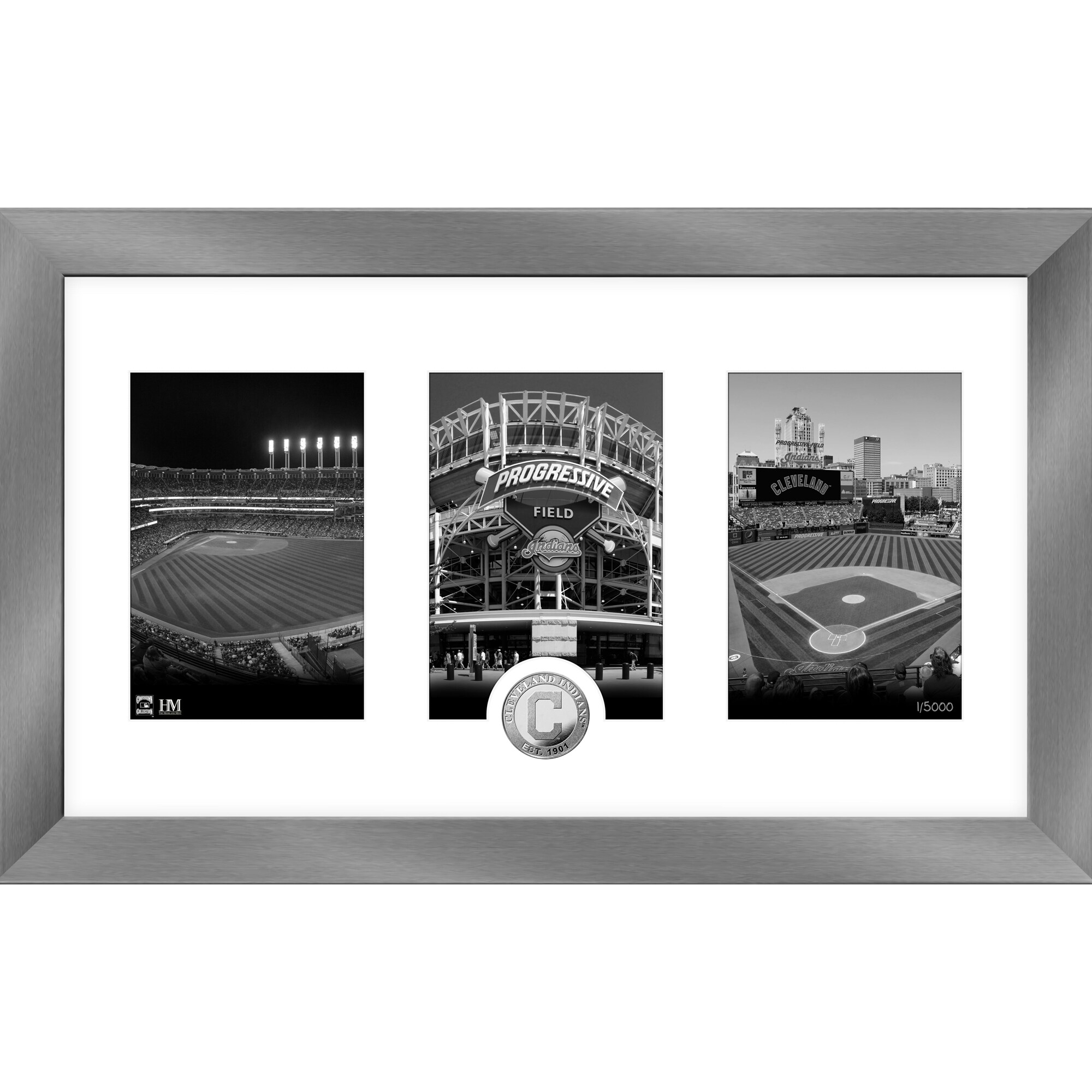 Cleveland Indians Highland Mint 12'' x 20'' Art Deco Silver Coin Photo Mint