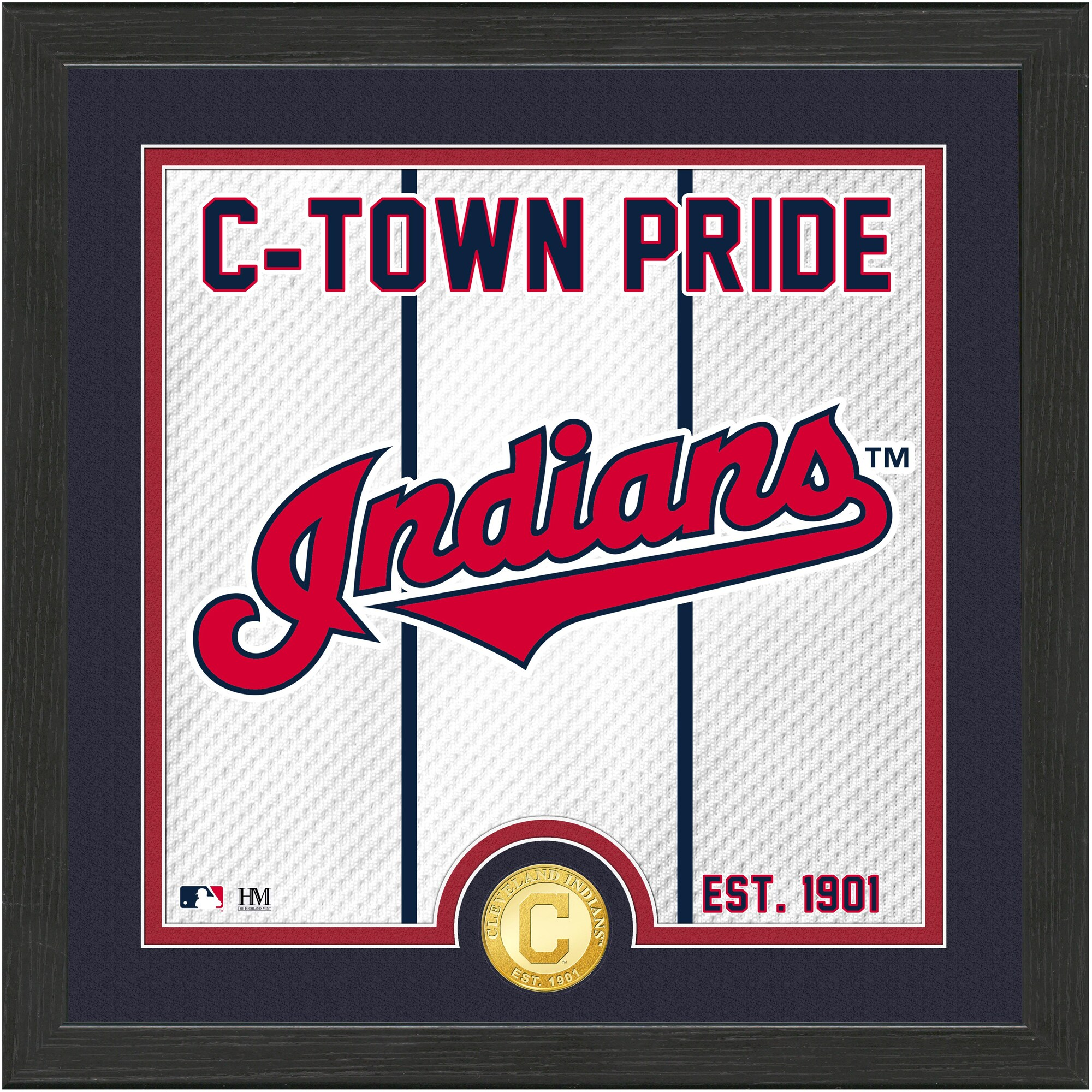 Cleveland Indians Highland Mint 13'' x 13'' Battle Cry Bronze Coin Photo Mint