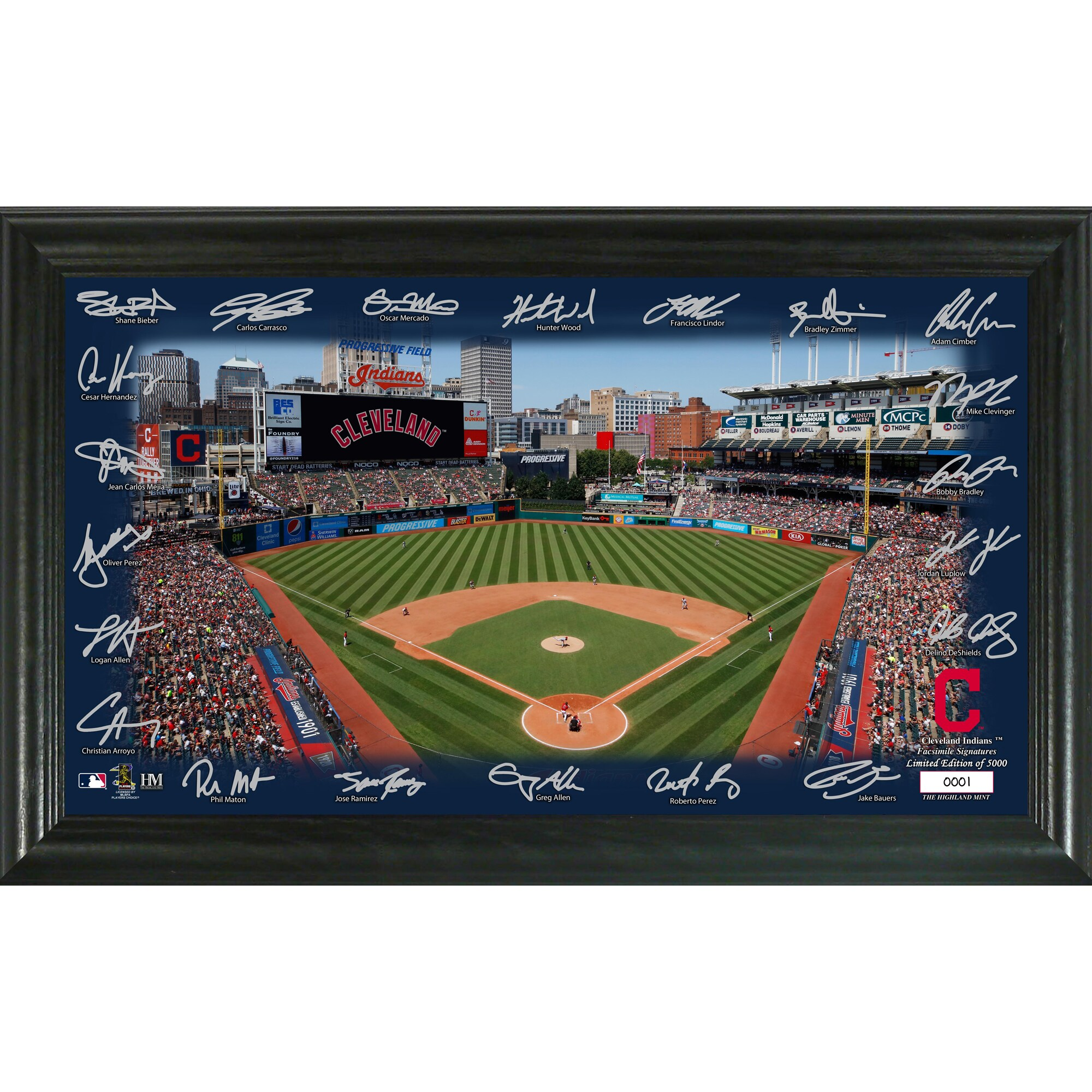 Cleveland Indians Highland Mint 12'' x 20'' Signature Field Limited Editon Framed Photo Mint
